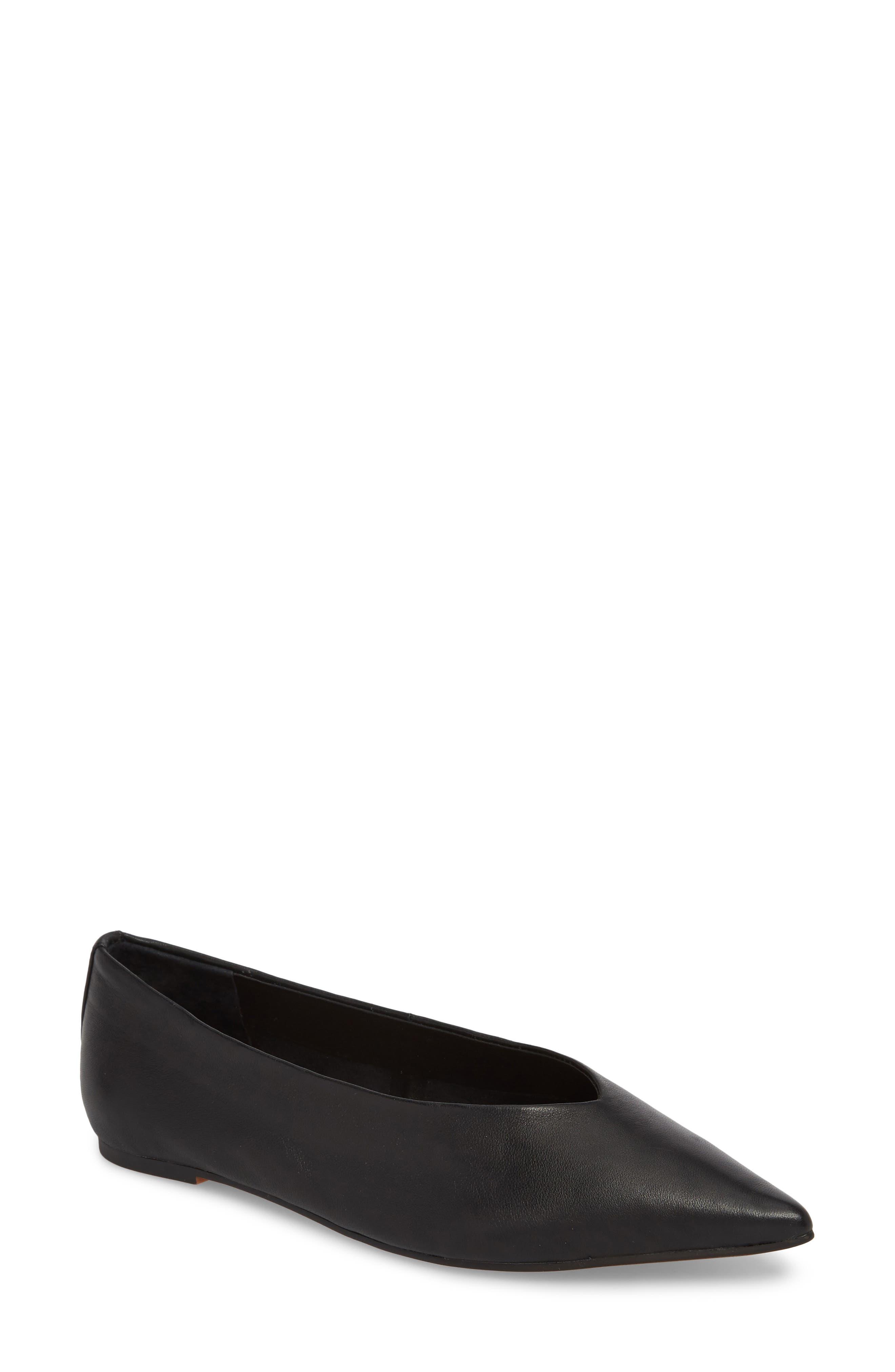 Attitude Pointy Toe Flat,                         Main,                         color, BLACK
