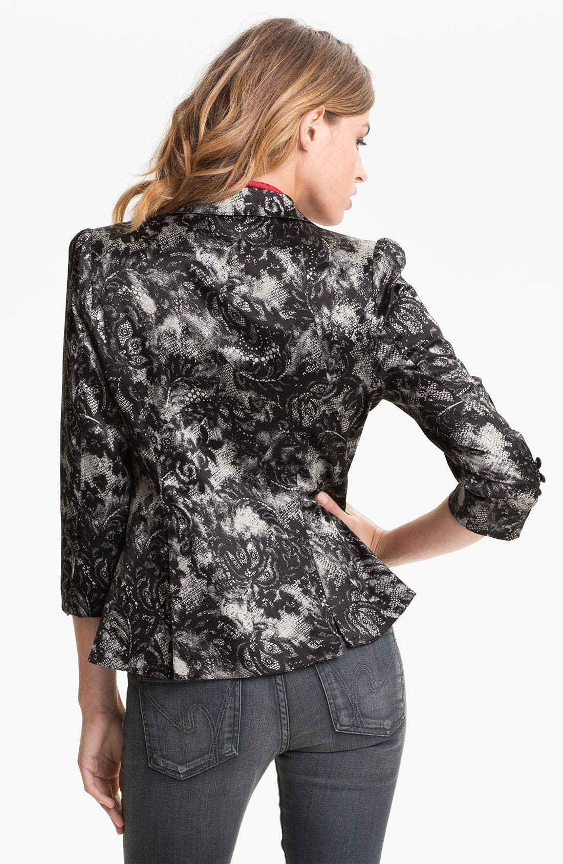 Lace Print Blazer,                             Alternate thumbnail 2, color,                             001