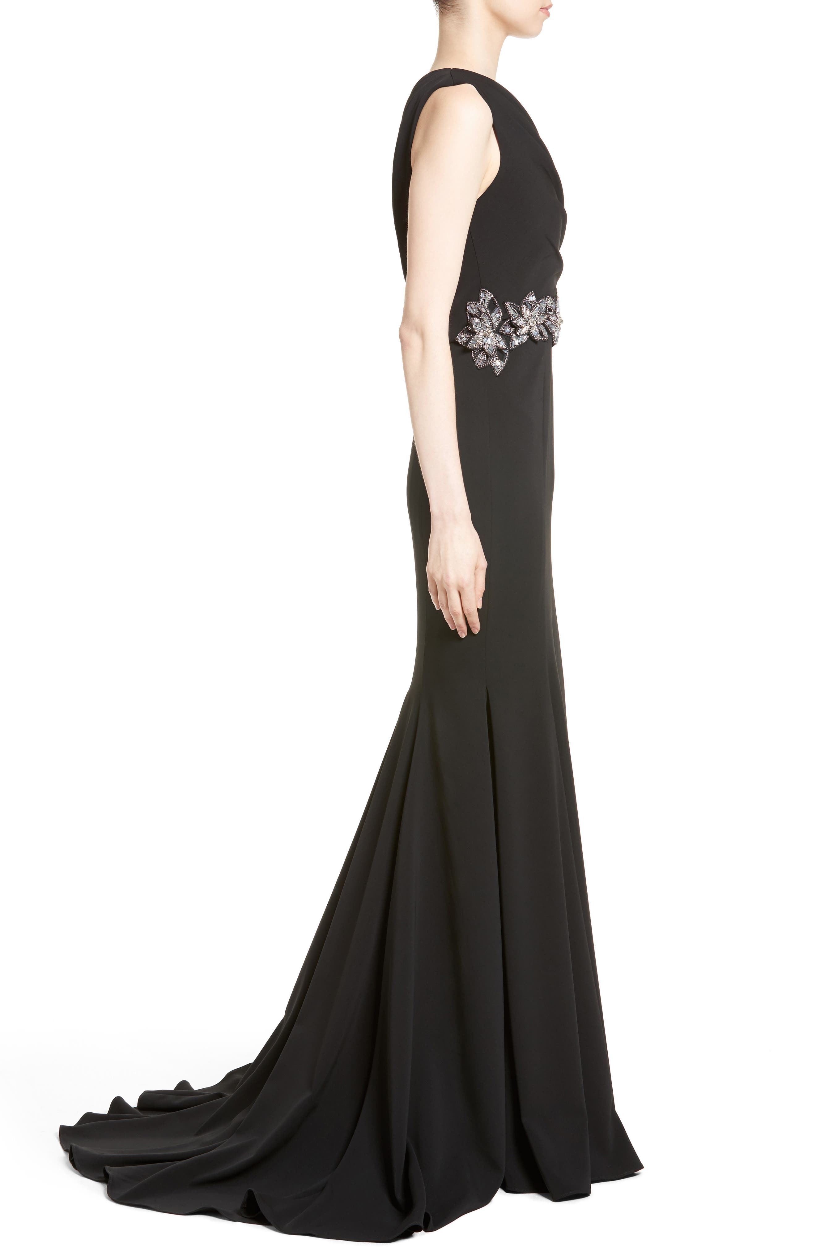 Badgley Mischka Couture Odessa Embellished One-Shoulder Gown,                             Alternate thumbnail 3, color,                             001