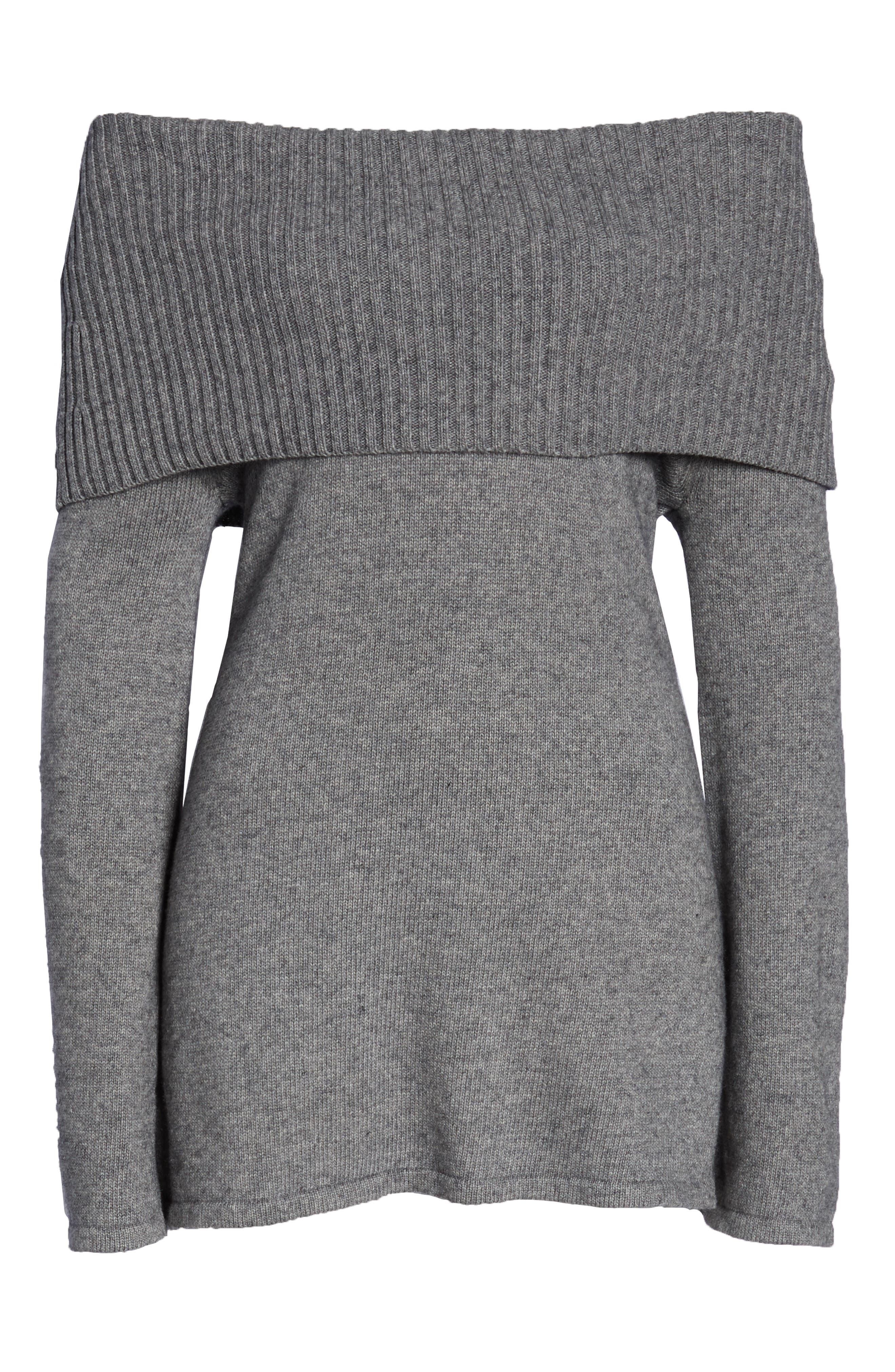 Rhodyn Off The Shoulder Sweater,                             Alternate thumbnail 6, color,                             GREY HEATHER