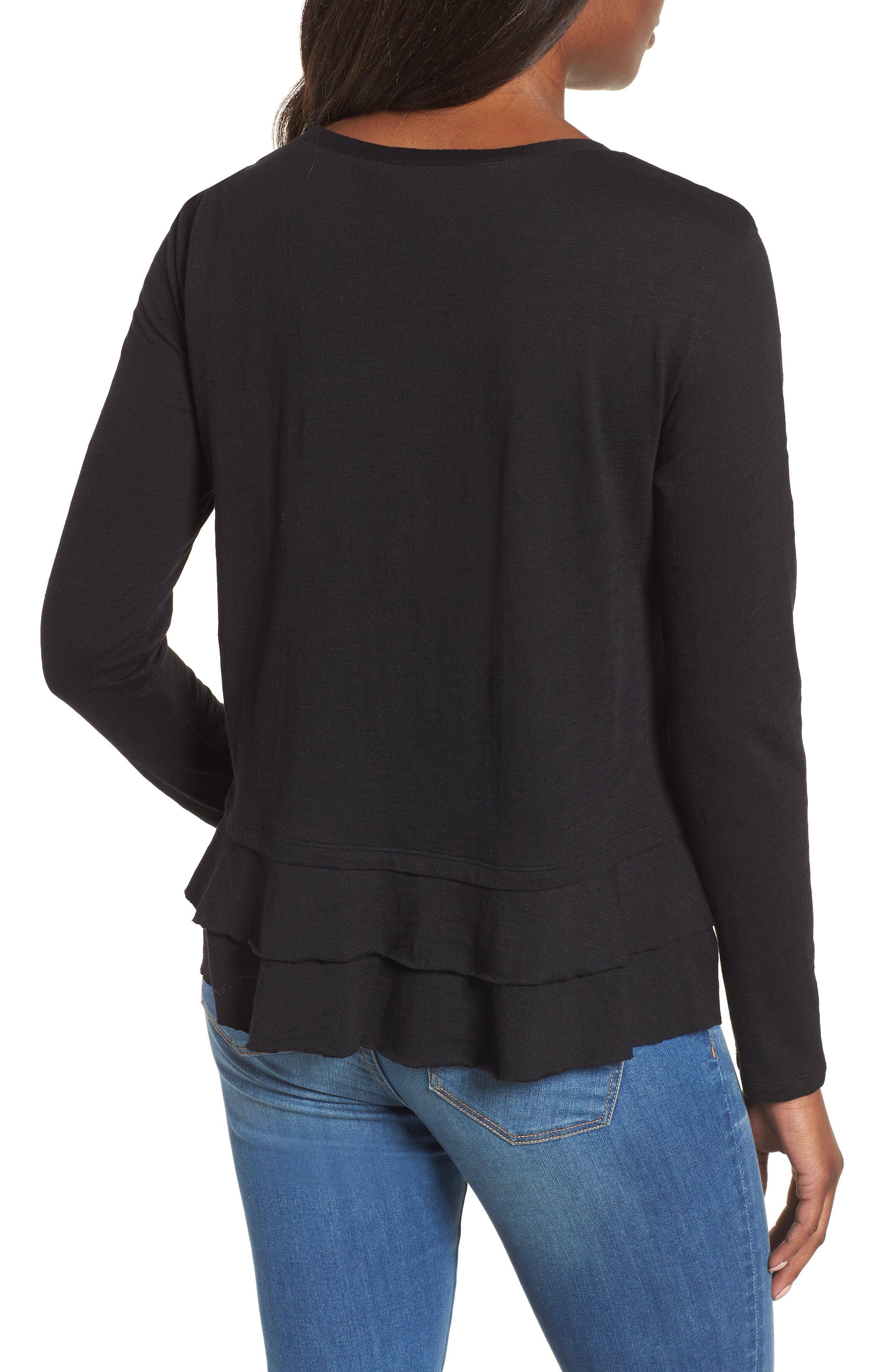 Tiered Long Sleeve Tee,                             Alternate thumbnail 2, color,                             001