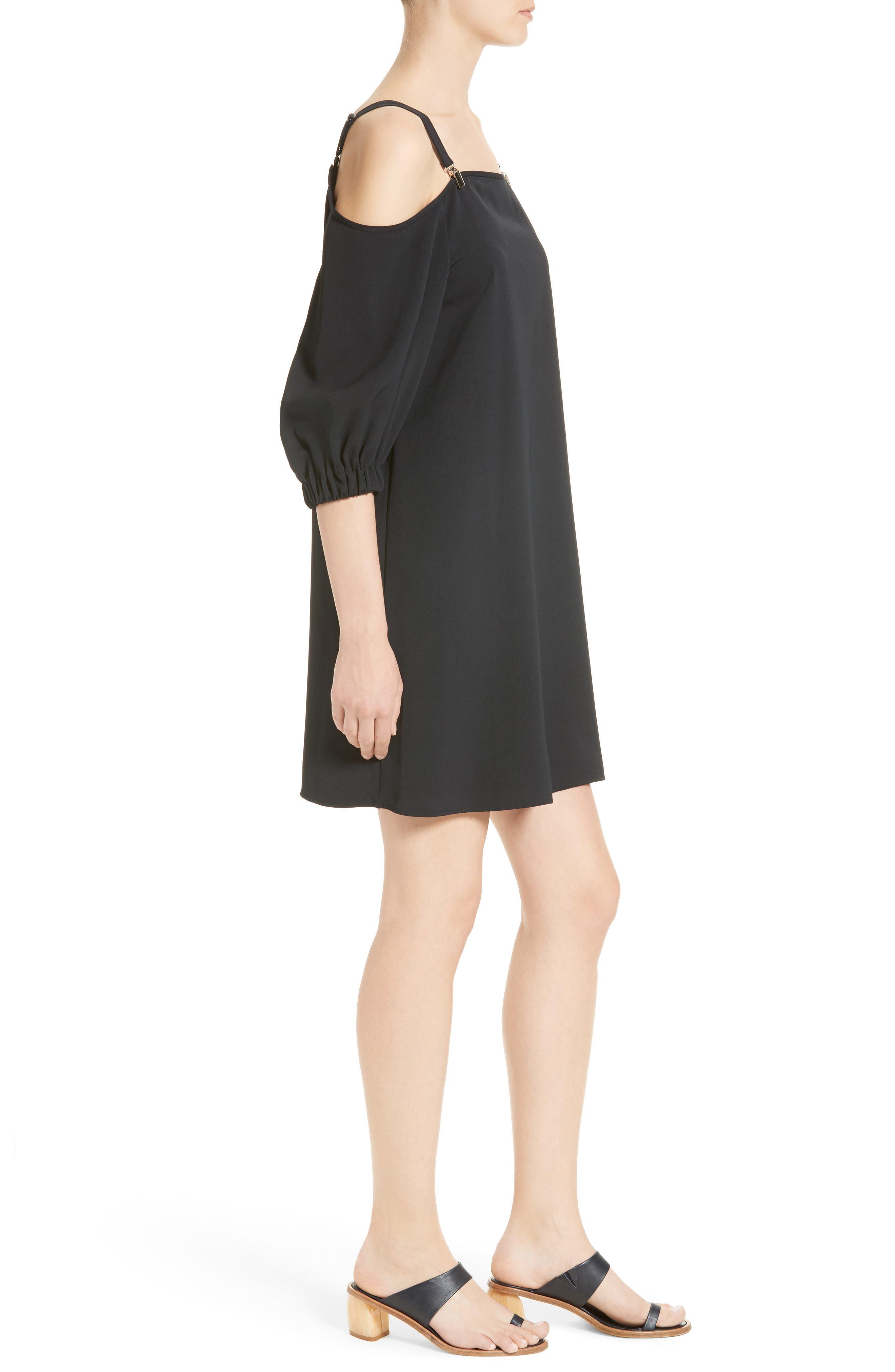 Cold Shoulder Suspender Shift Dress,                             Alternate thumbnail 3, color,                             001