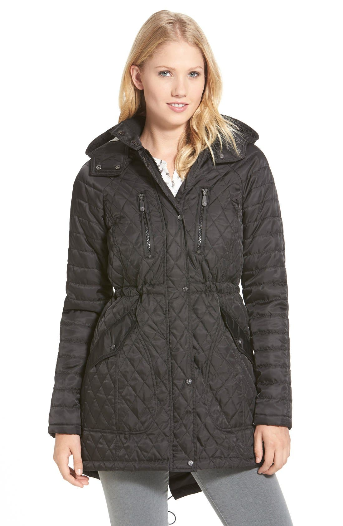 DetachableHood Quilted Anorak,                             Main thumbnail 1, color,                             001