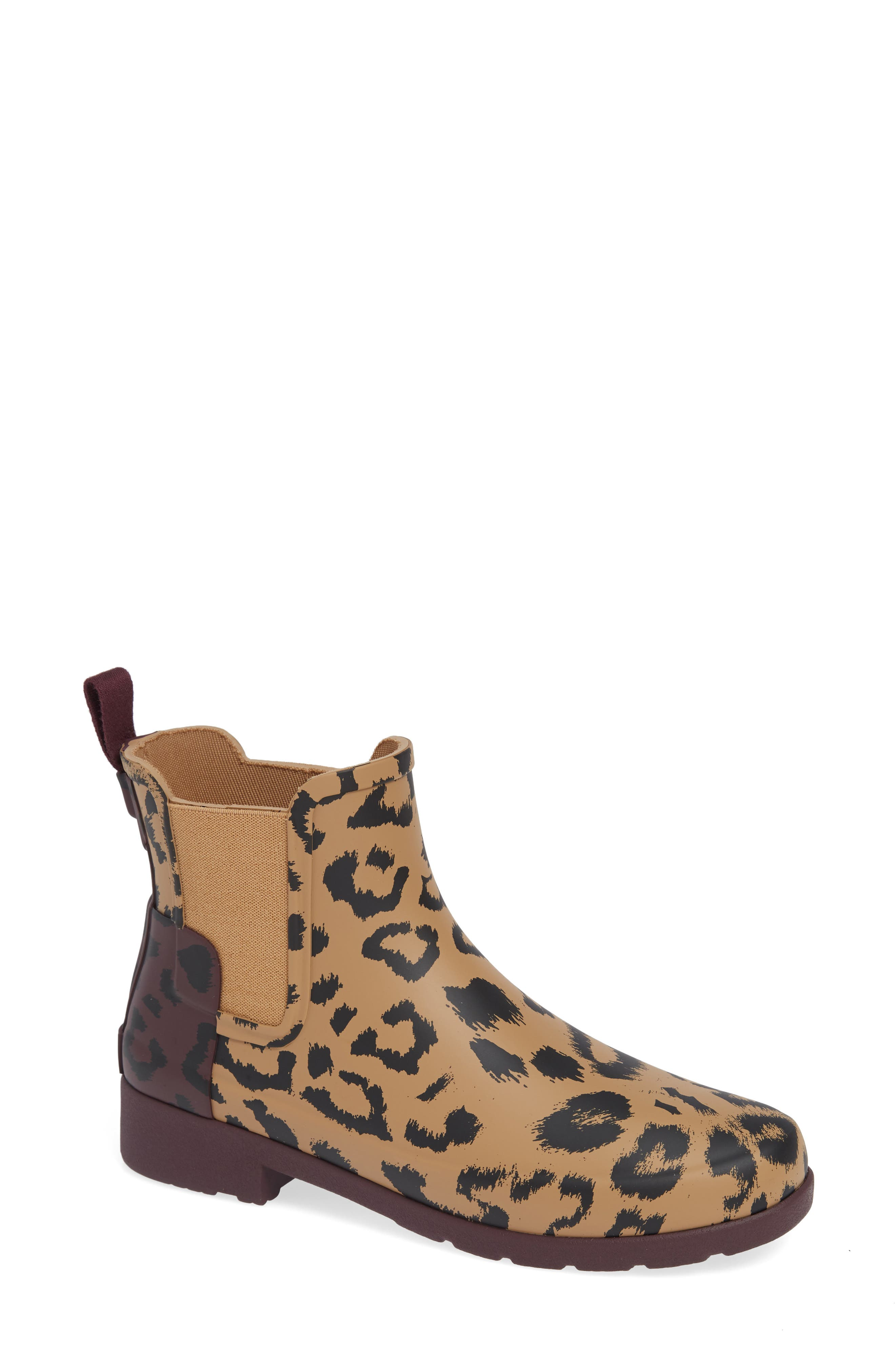 HUNTER,                             Original Leopard Print Refined Chelsea Waterproof Rain Boot,                             Main thumbnail 1, color,                             242
