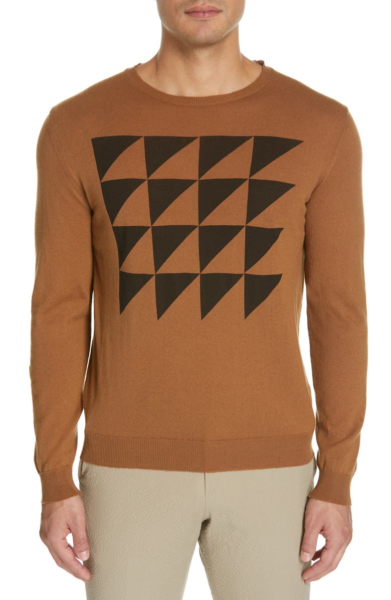Eidos TRIANGLE PATTERN CREWNECK COTTON & CASHMERE SWEATER