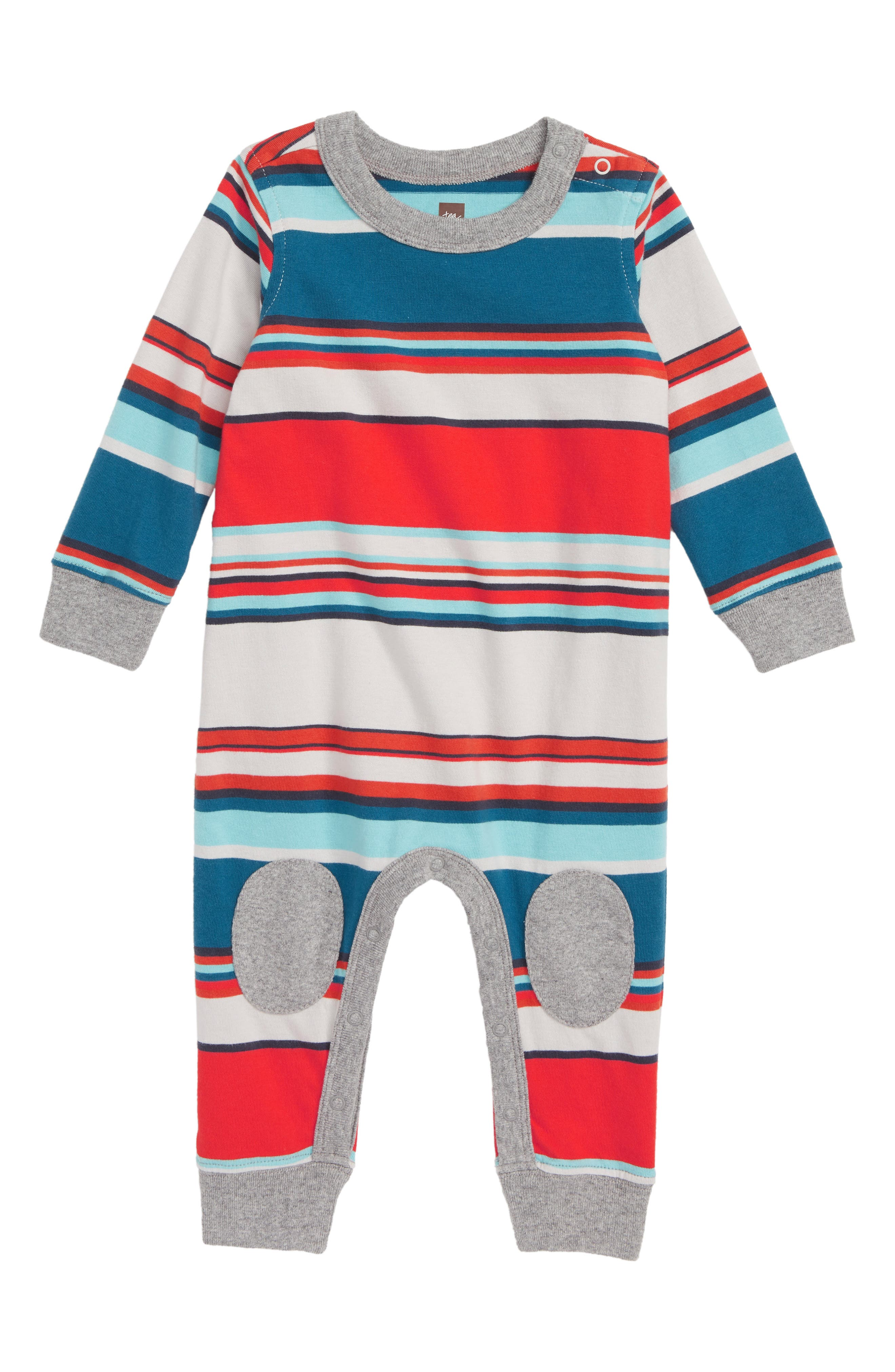 Stripe Knee Patch Romper,                         Main,                         color, 057