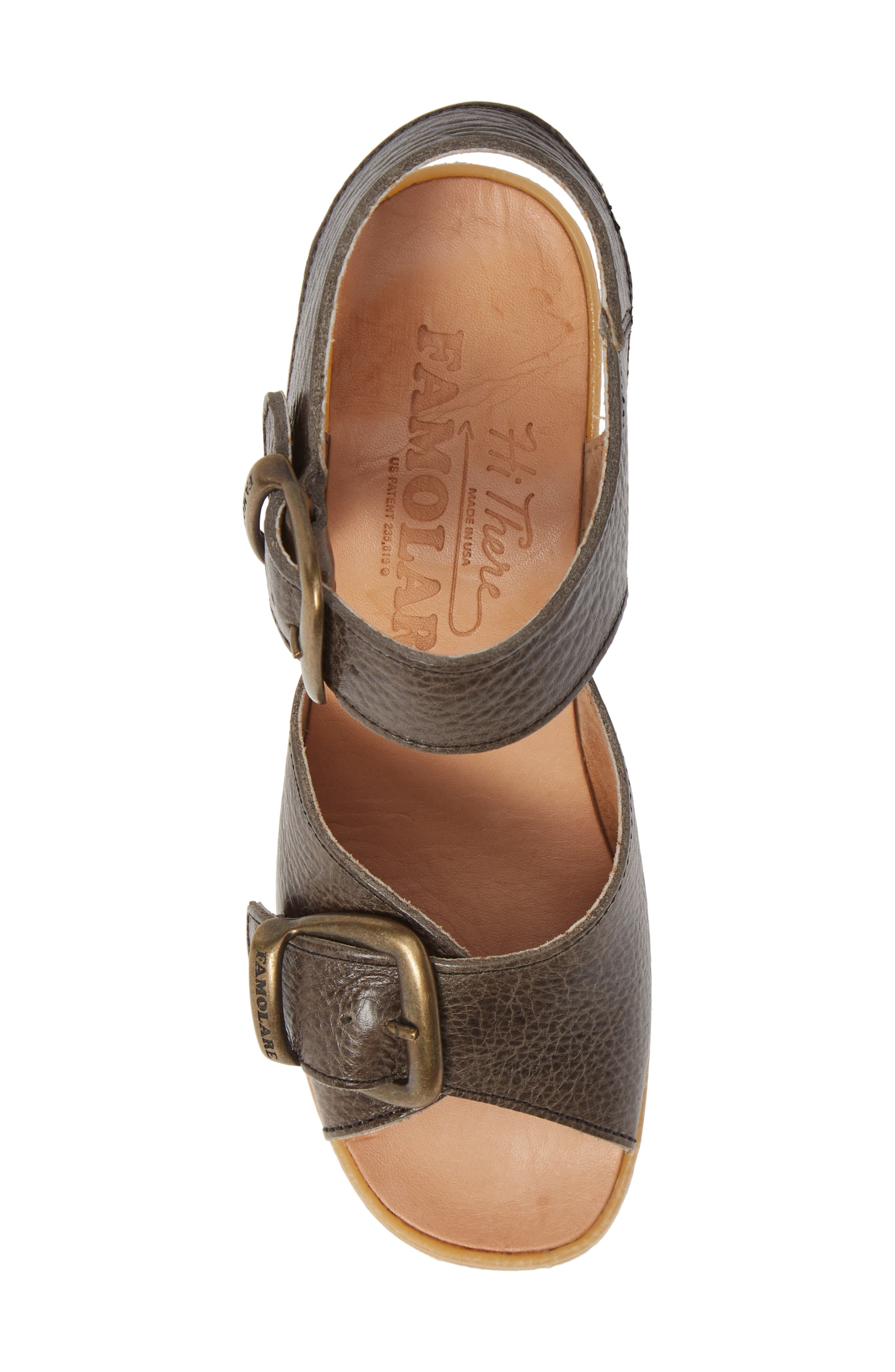 Double Vision Wedge Sandal,                             Alternate thumbnail 5, color,                             STEEL LEATHER