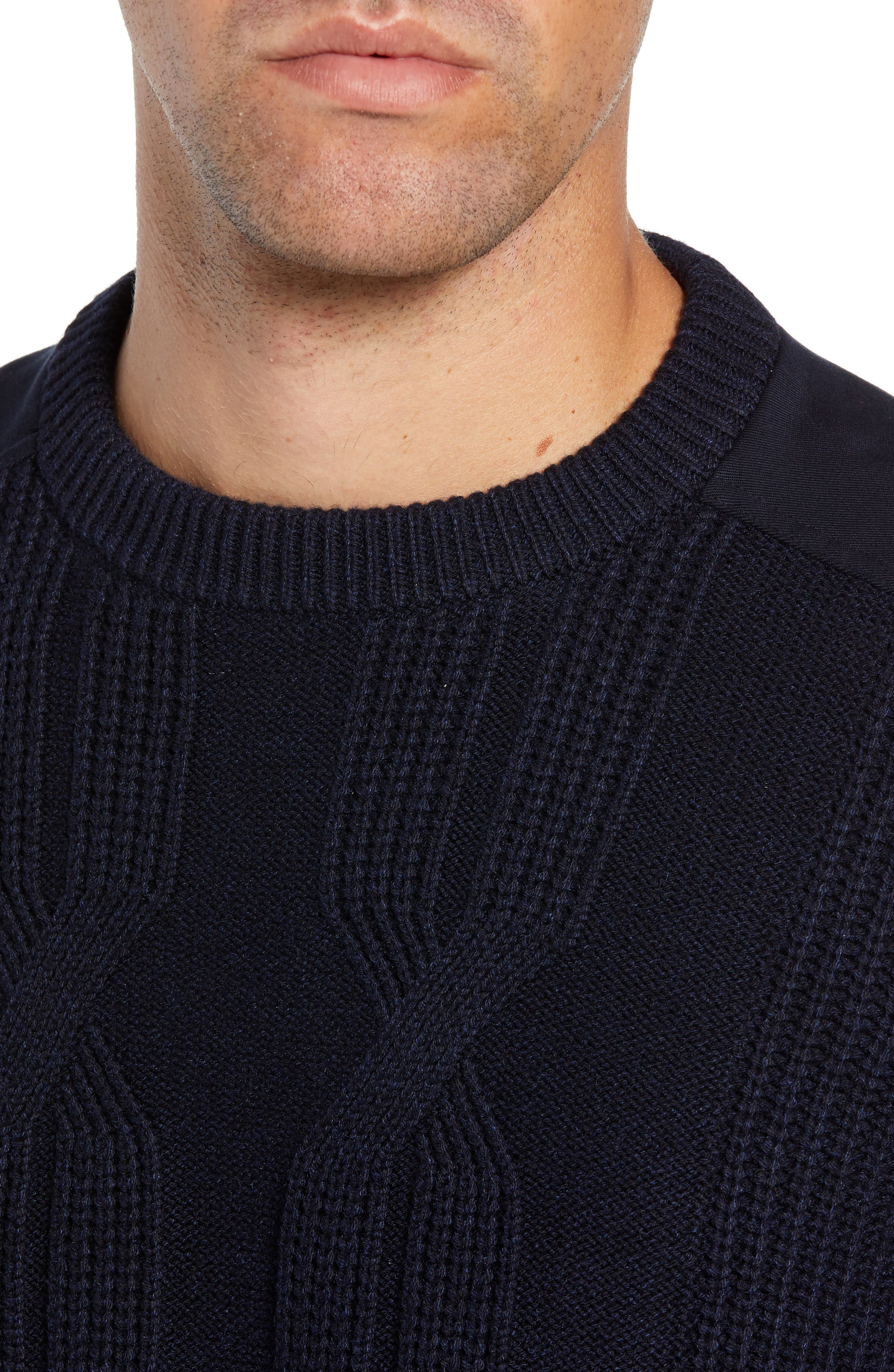 Laichi Trim Fit Cable Crewneck Sweater,                             Alternate thumbnail 4, color,                             NAVY