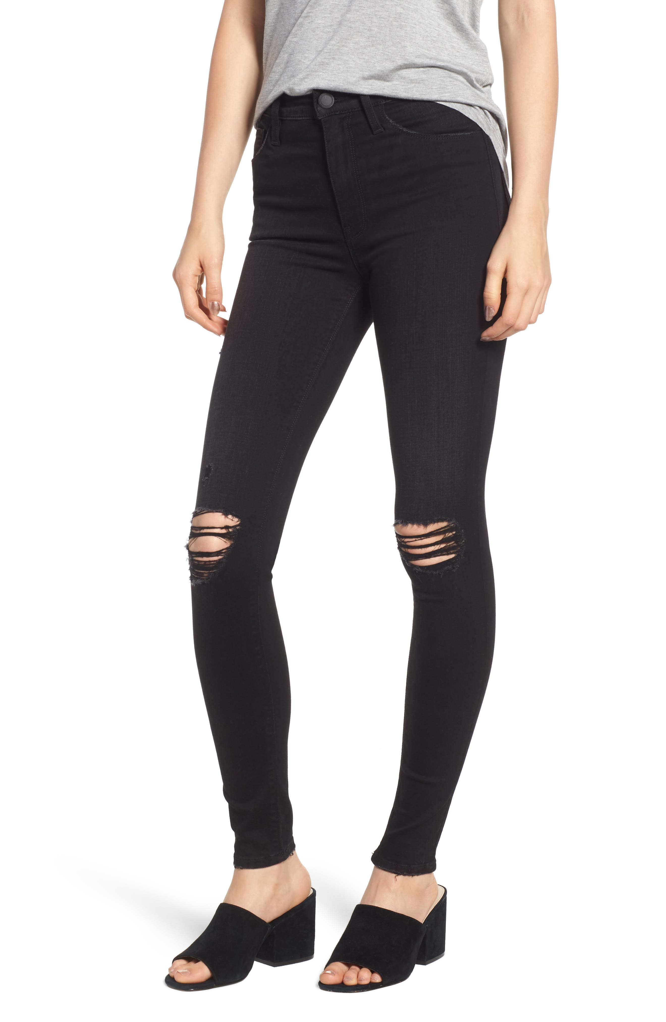 Barbara Ripped High Waist Super Skinny Jeans, Main, color, WESTBOUND