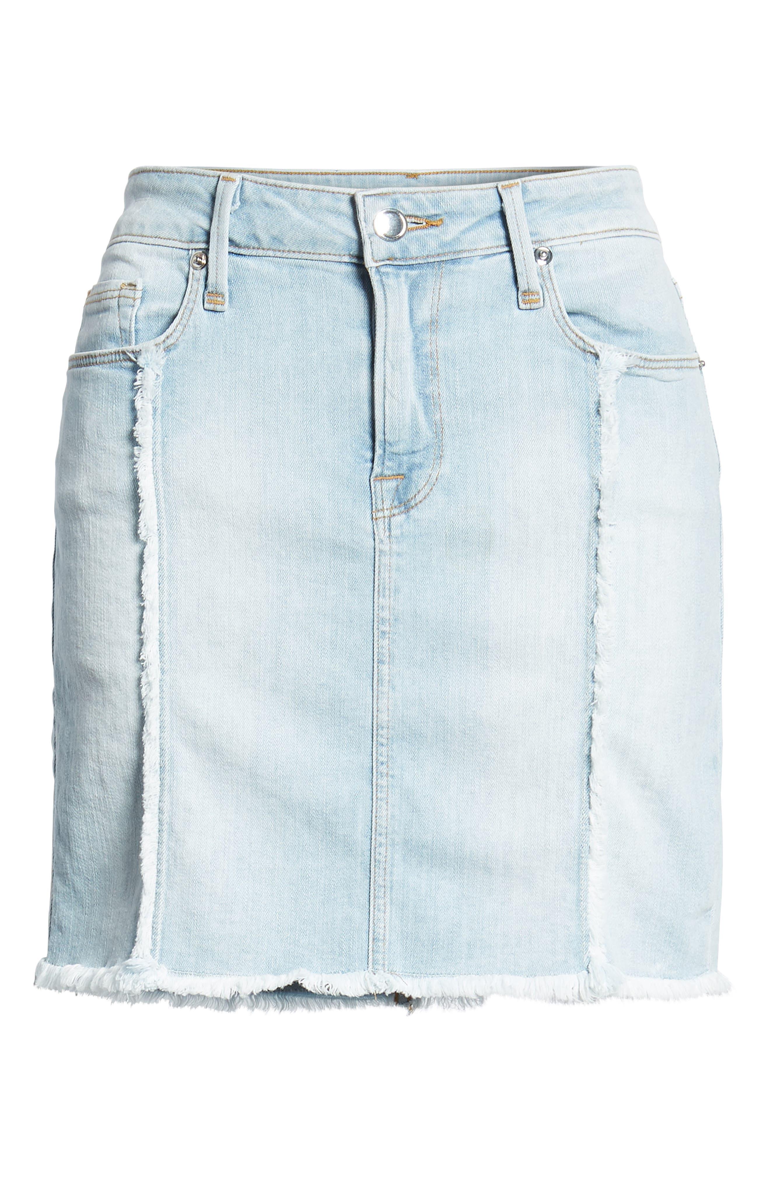 The Mini Distressed Seams Denim Miniskirt,                             Alternate thumbnail 7, color,                             401