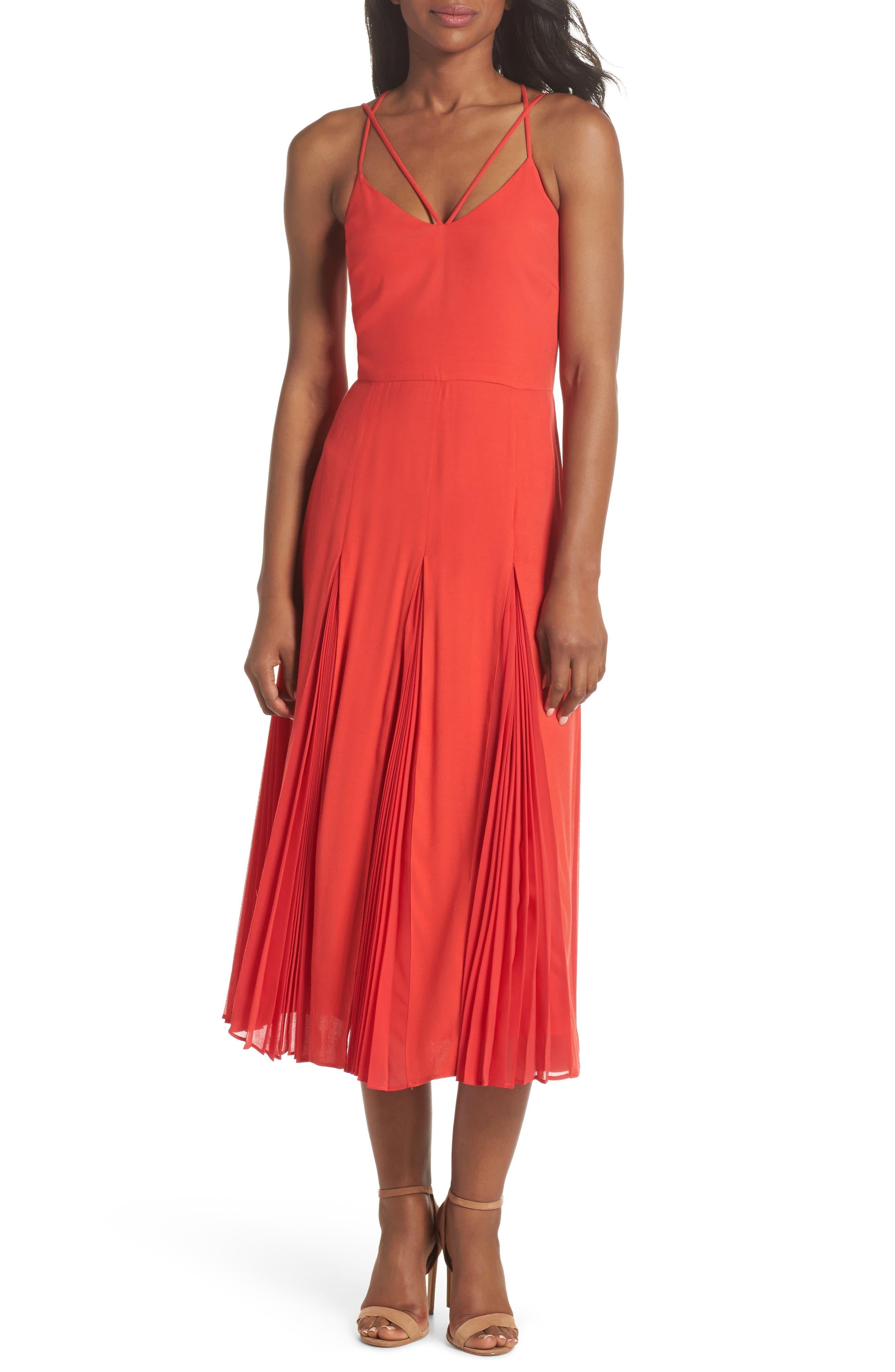 Pleated Godet Midi Dress,                             Main thumbnail 1, color,                             602