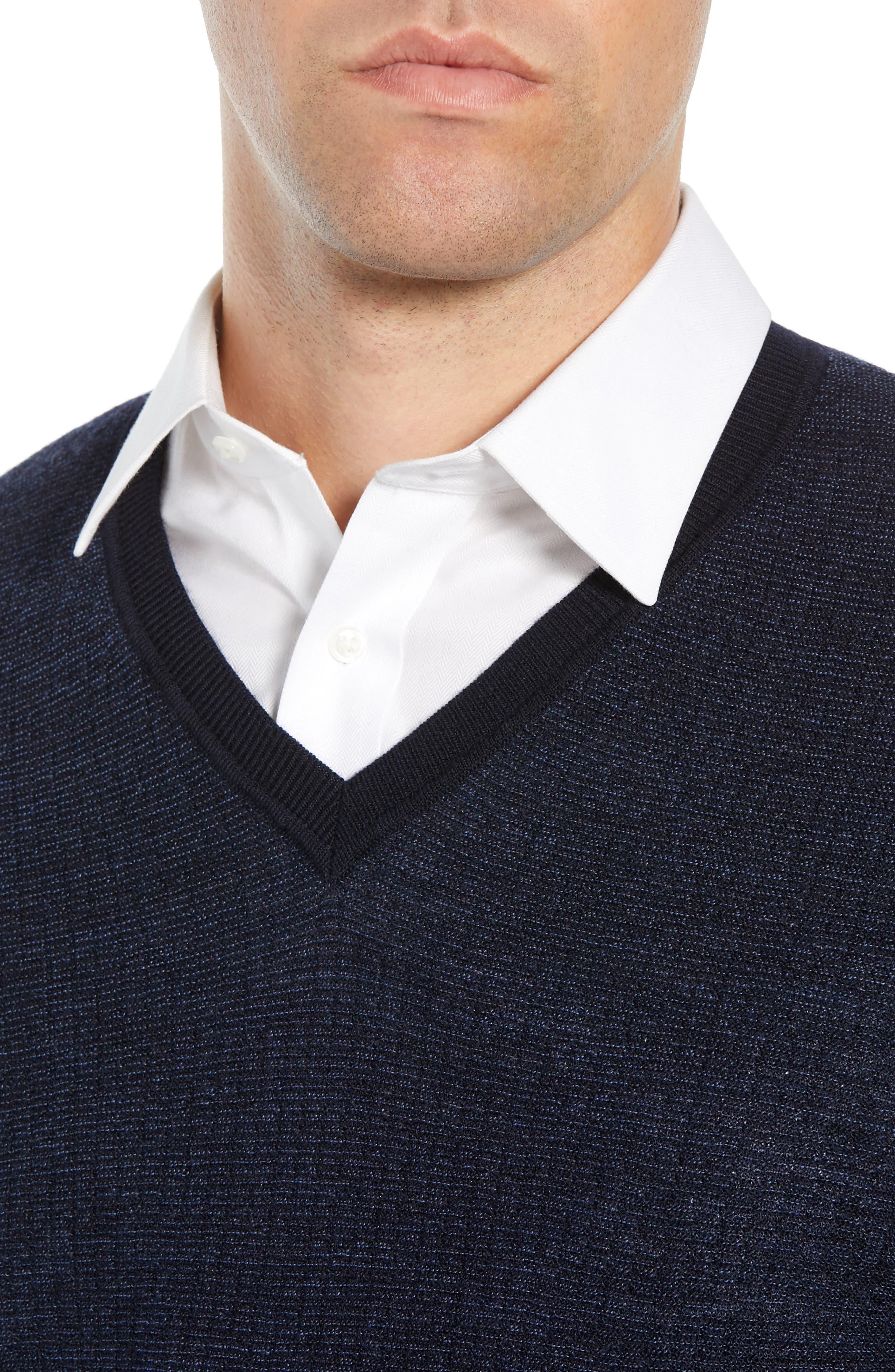 Emauro Mouline V-Neck Slim Fit Sweater,                             Alternate thumbnail 4, color,                             BLUE