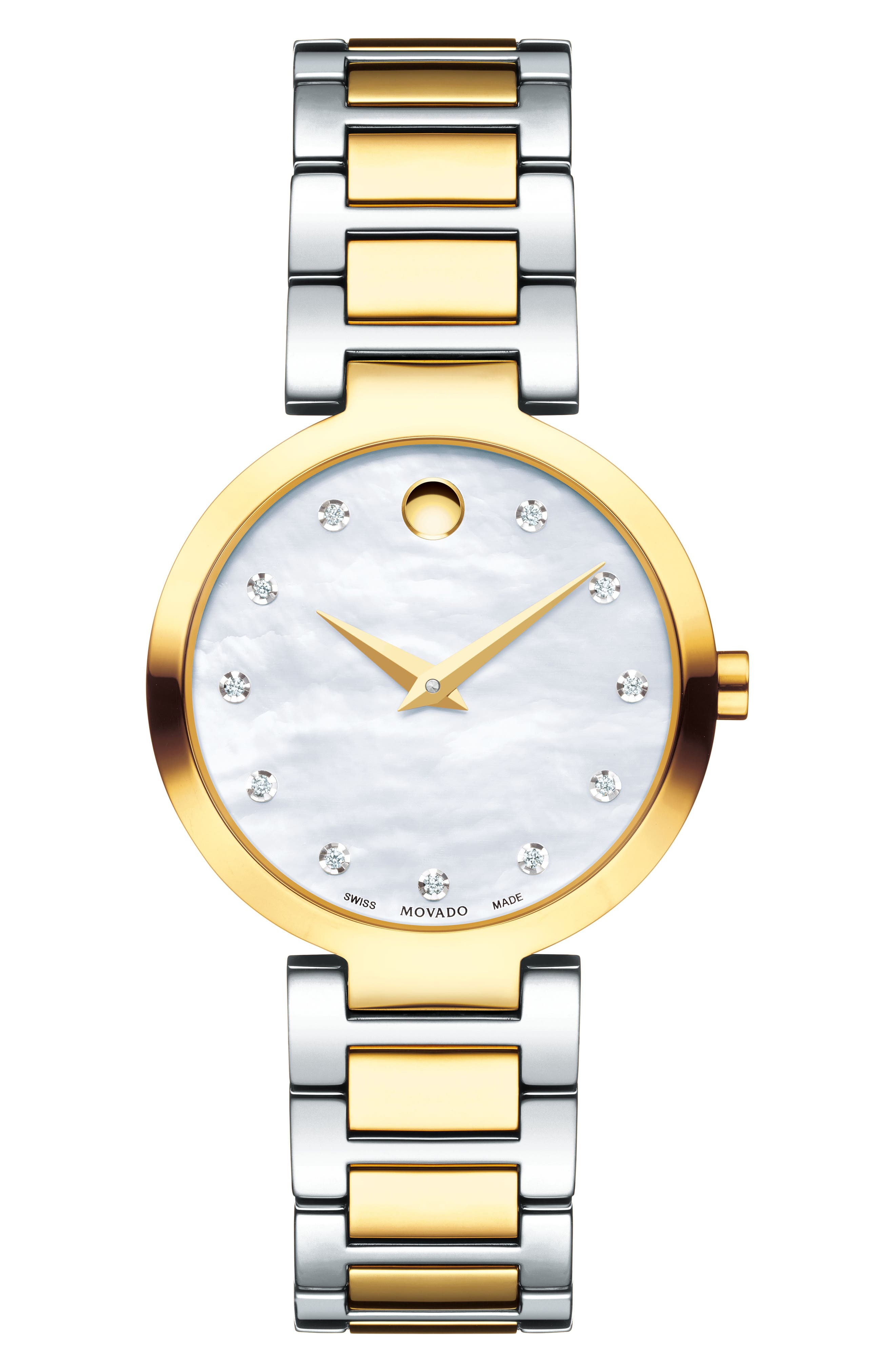 Modern Classic Diamond Bracelet Watch, 28mm,                             Main thumbnail 1, color,                             SILVER/ MOP/ GOLD