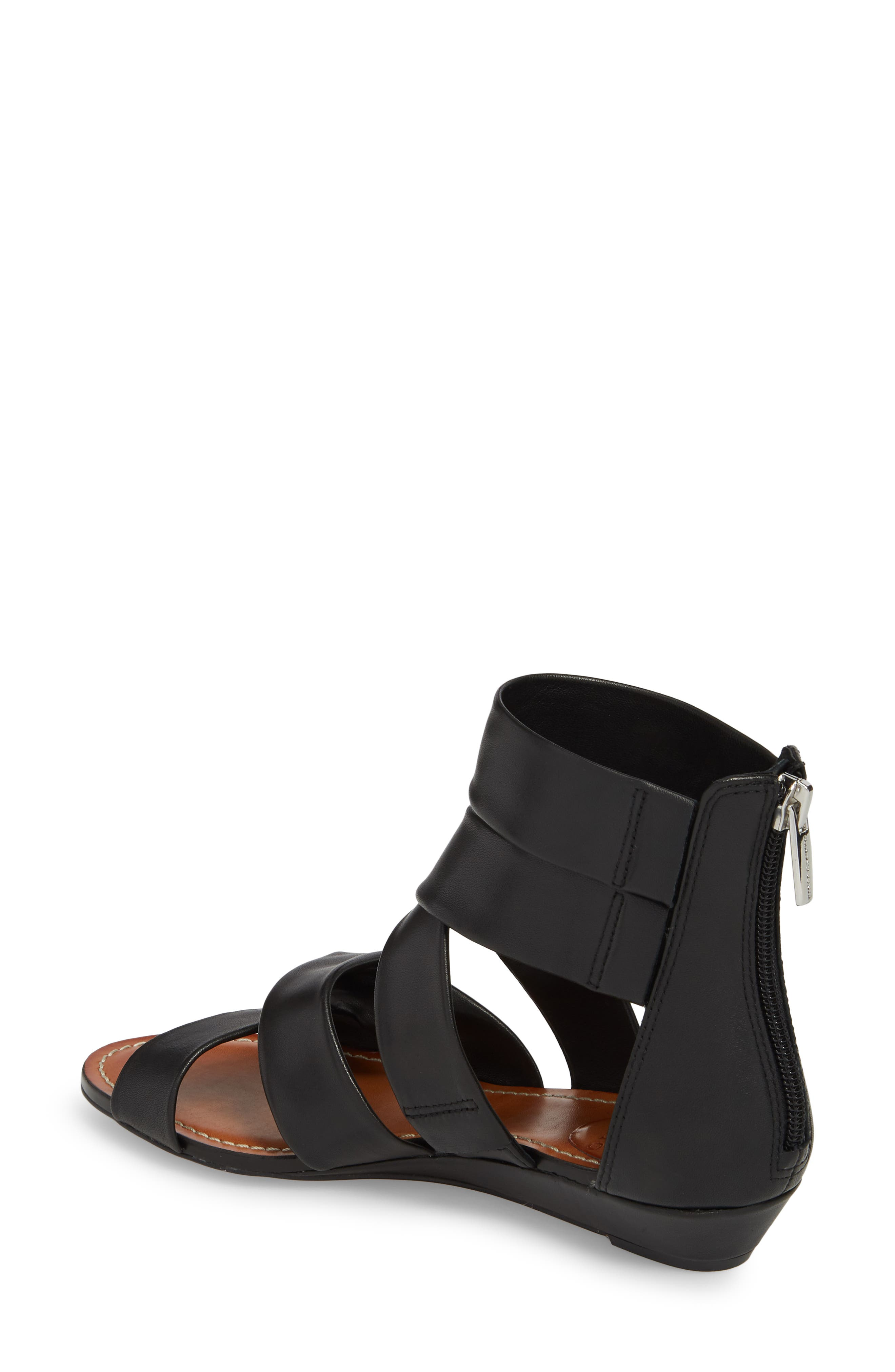 Seevina Low Wedge Sandal,                             Alternate thumbnail 2, color,                             BLACK LEATHER