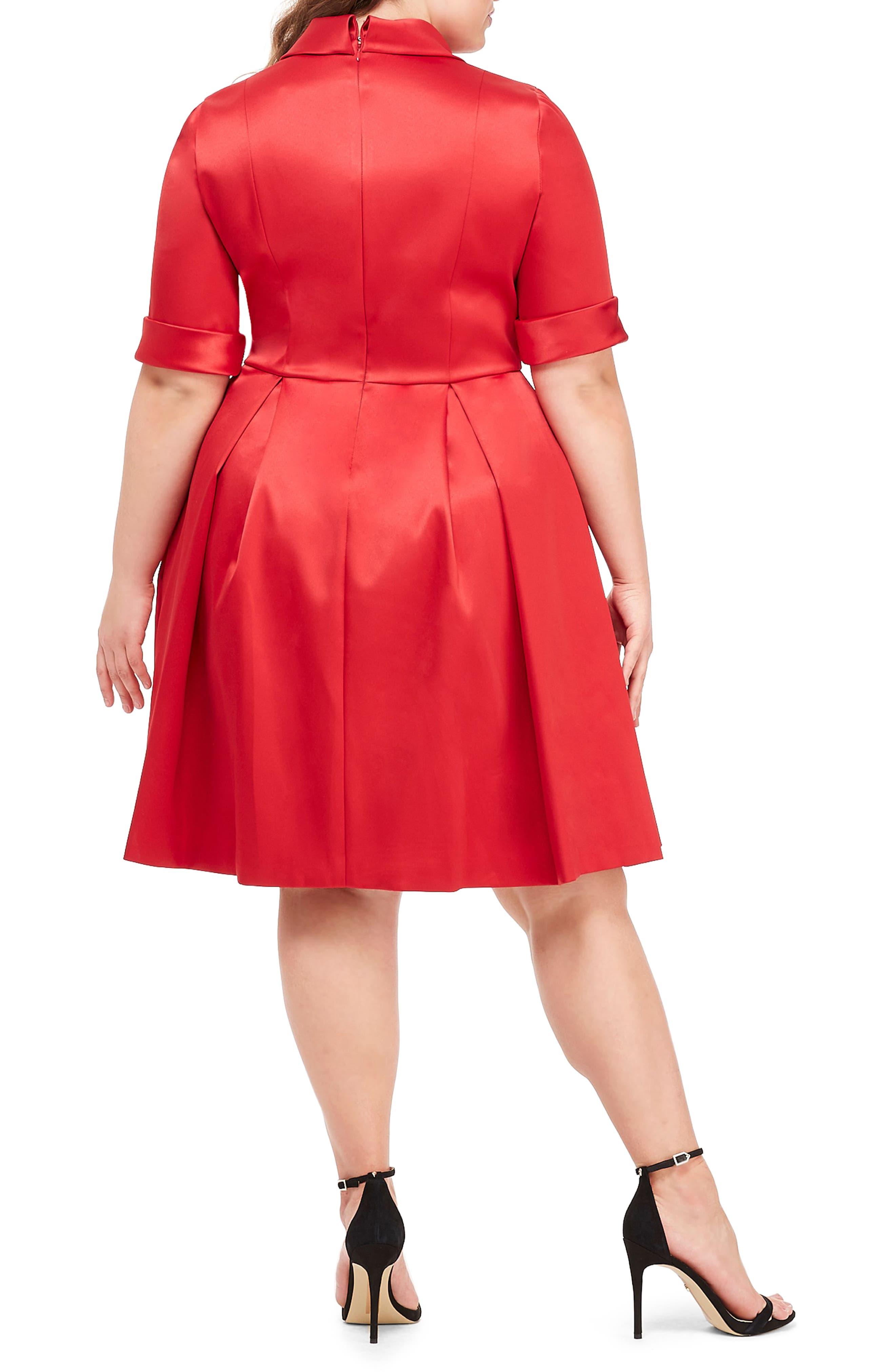 GAL MEETS GLAM COLLECTION,                             Ruby Royal Satin Asymmetrical Collar Dress,                             Alternate thumbnail 8, color,                             RUBY