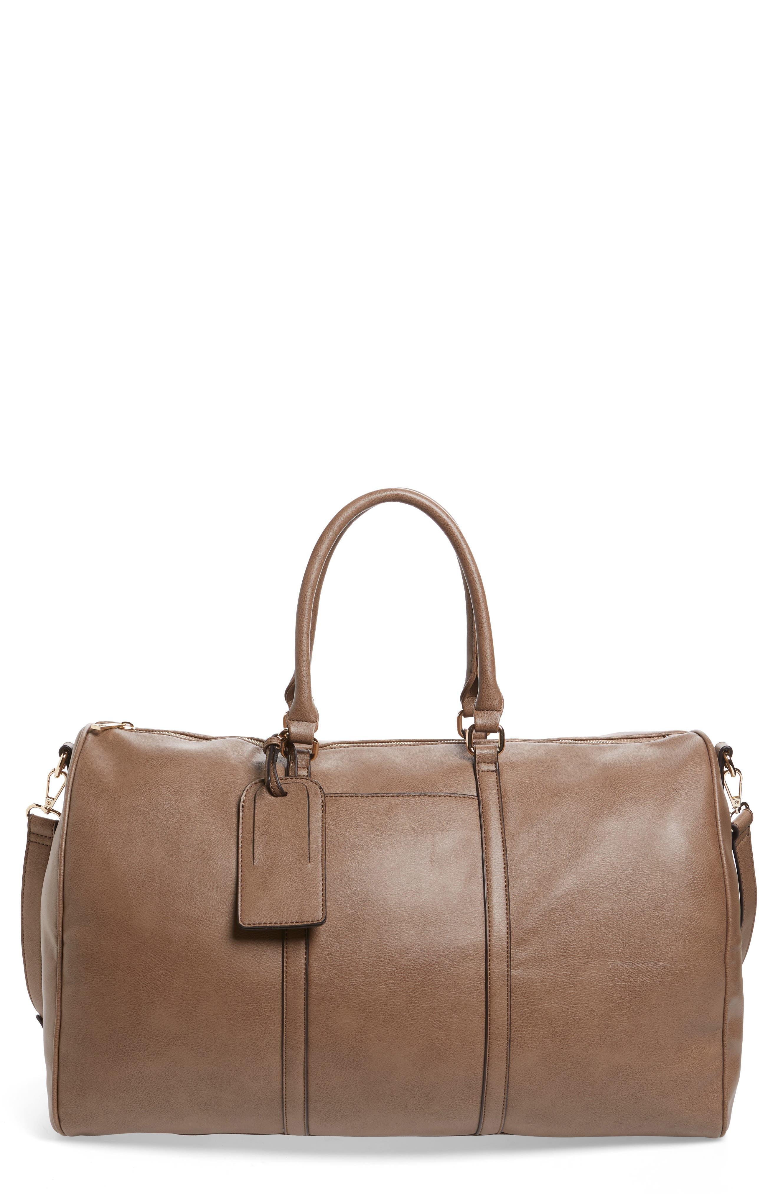 'Lacie' Faux Leather Duffel Bag,                             Main thumbnail 1, color,                             022