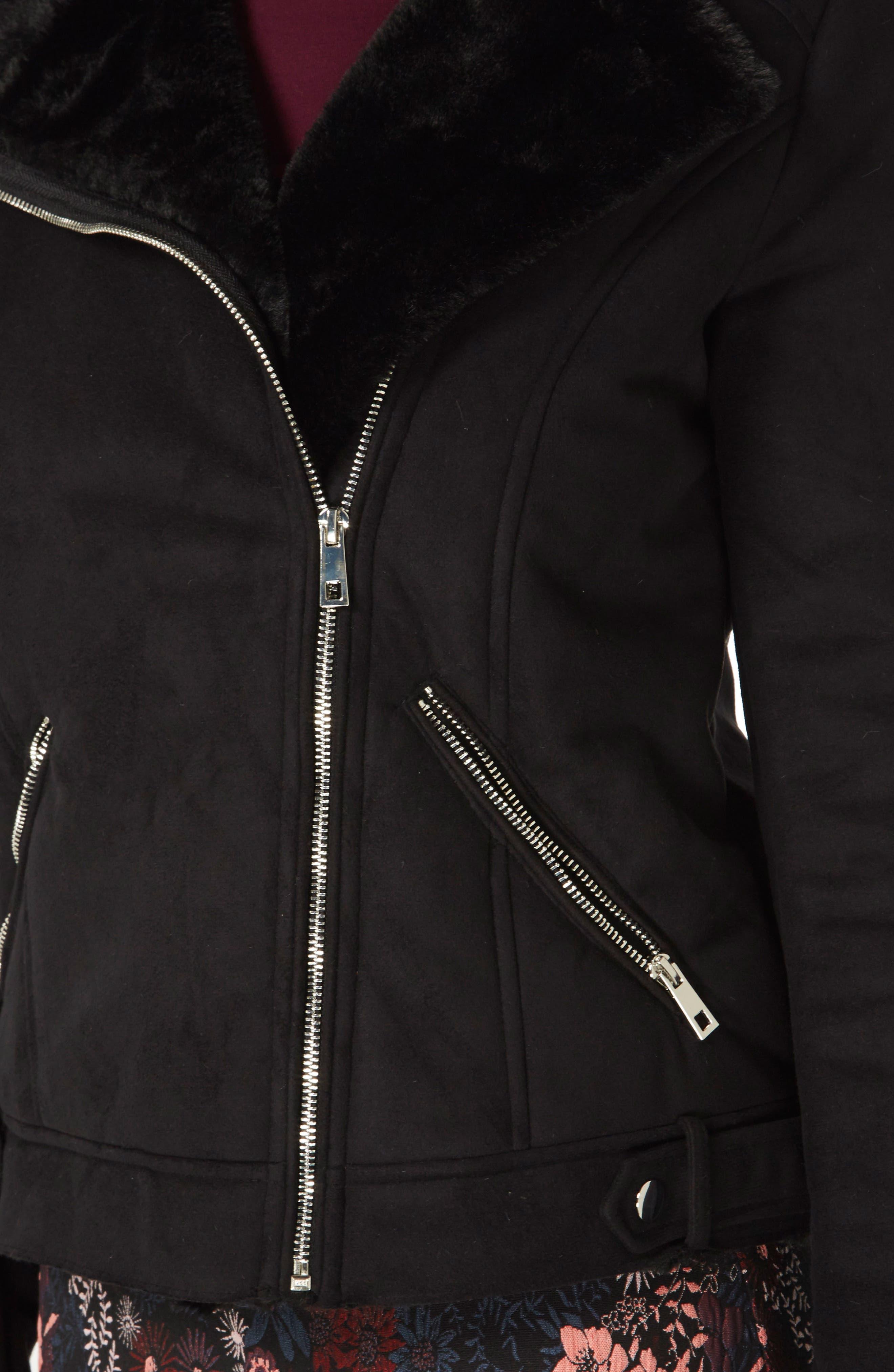 Faux Suede Biker Jacket with Faux Shearling Trim,                             Alternate thumbnail 3, color,