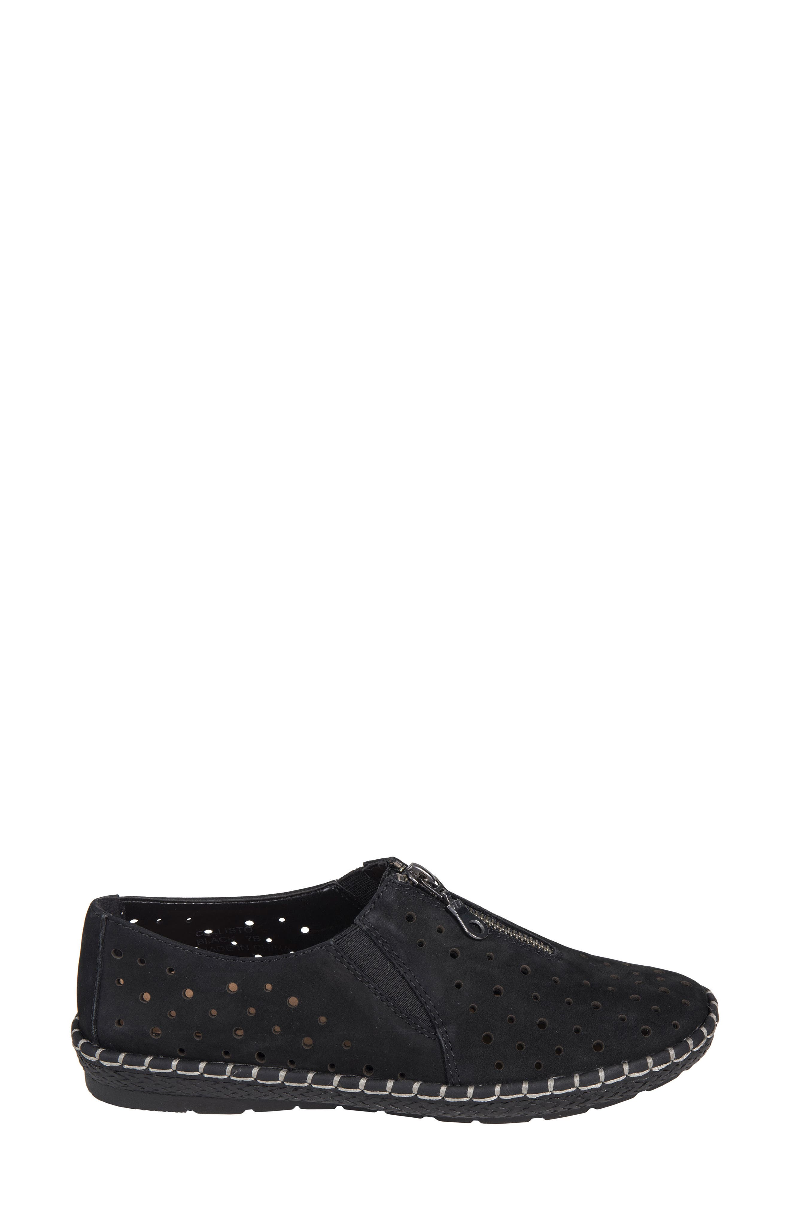 Callisto Perforated Zip Moccasin,                             Alternate thumbnail 3, color,                             001