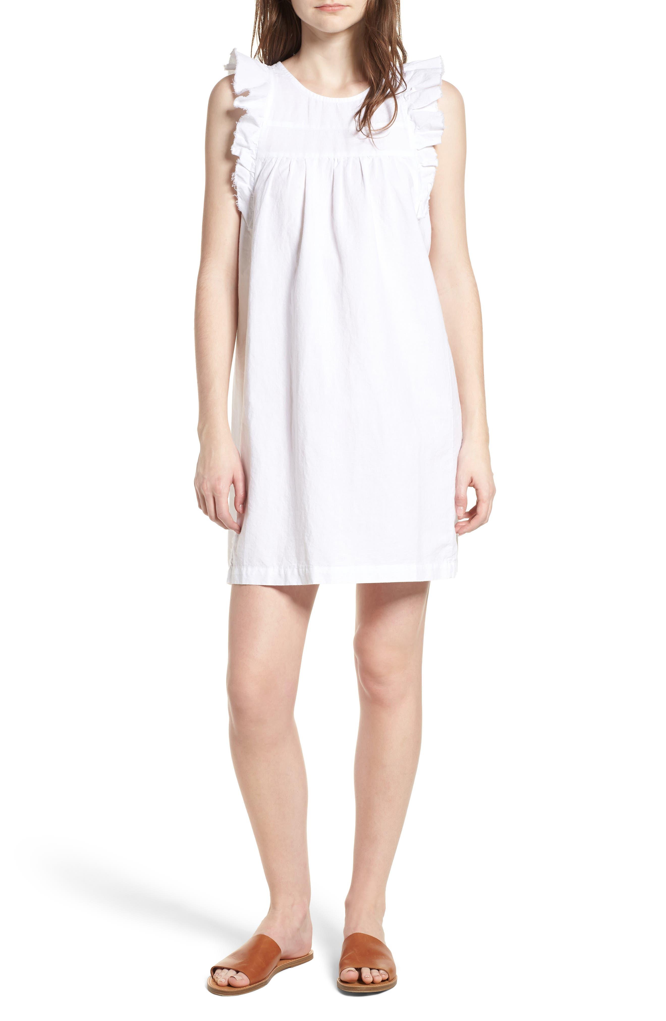 Jennifer Ruffle Babydoll Dress,                             Main thumbnail 1, color,                             TRUE WHITE