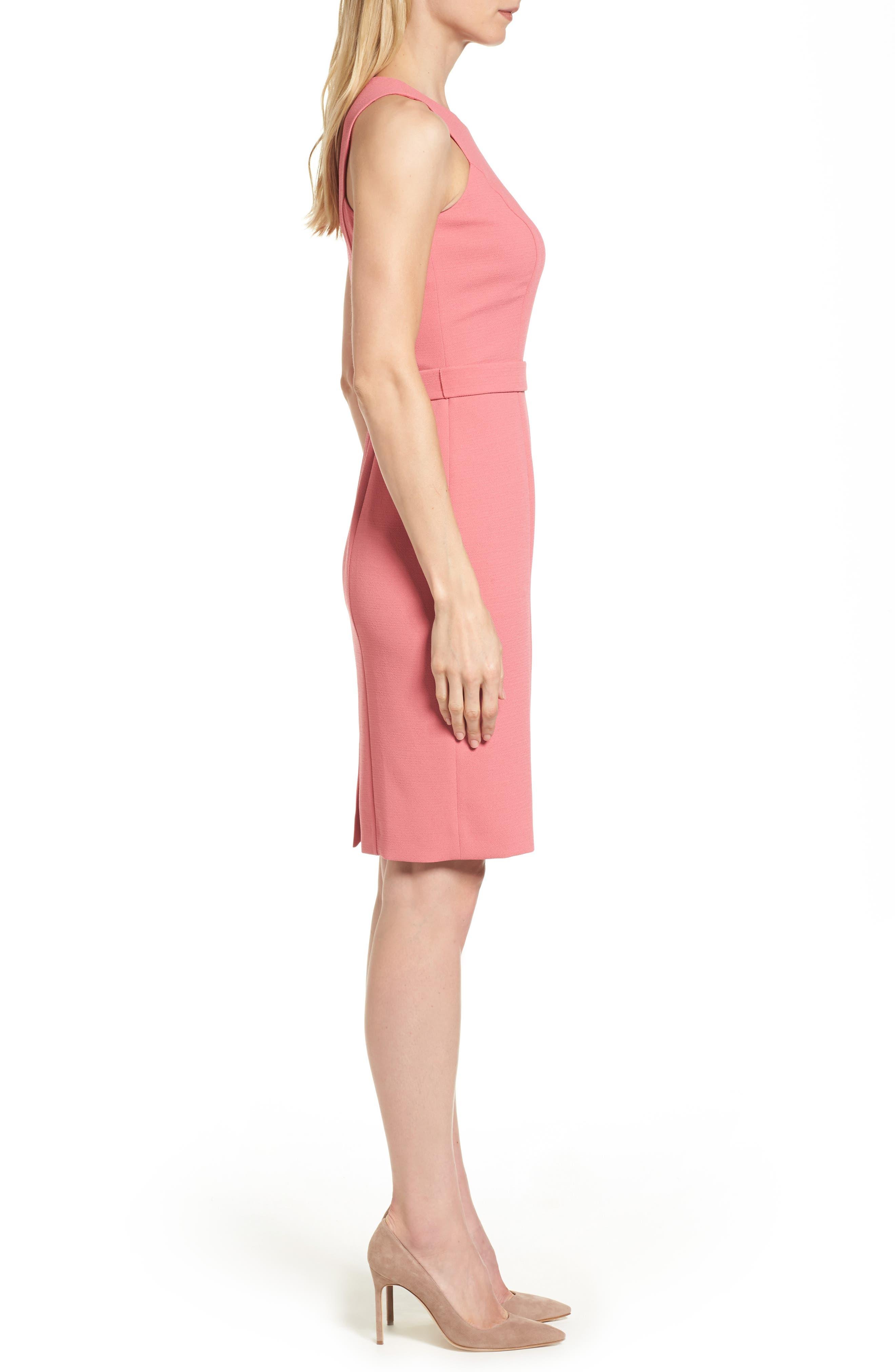 Dalanea Belted Sheath Dress,                             Alternate thumbnail 3, color,