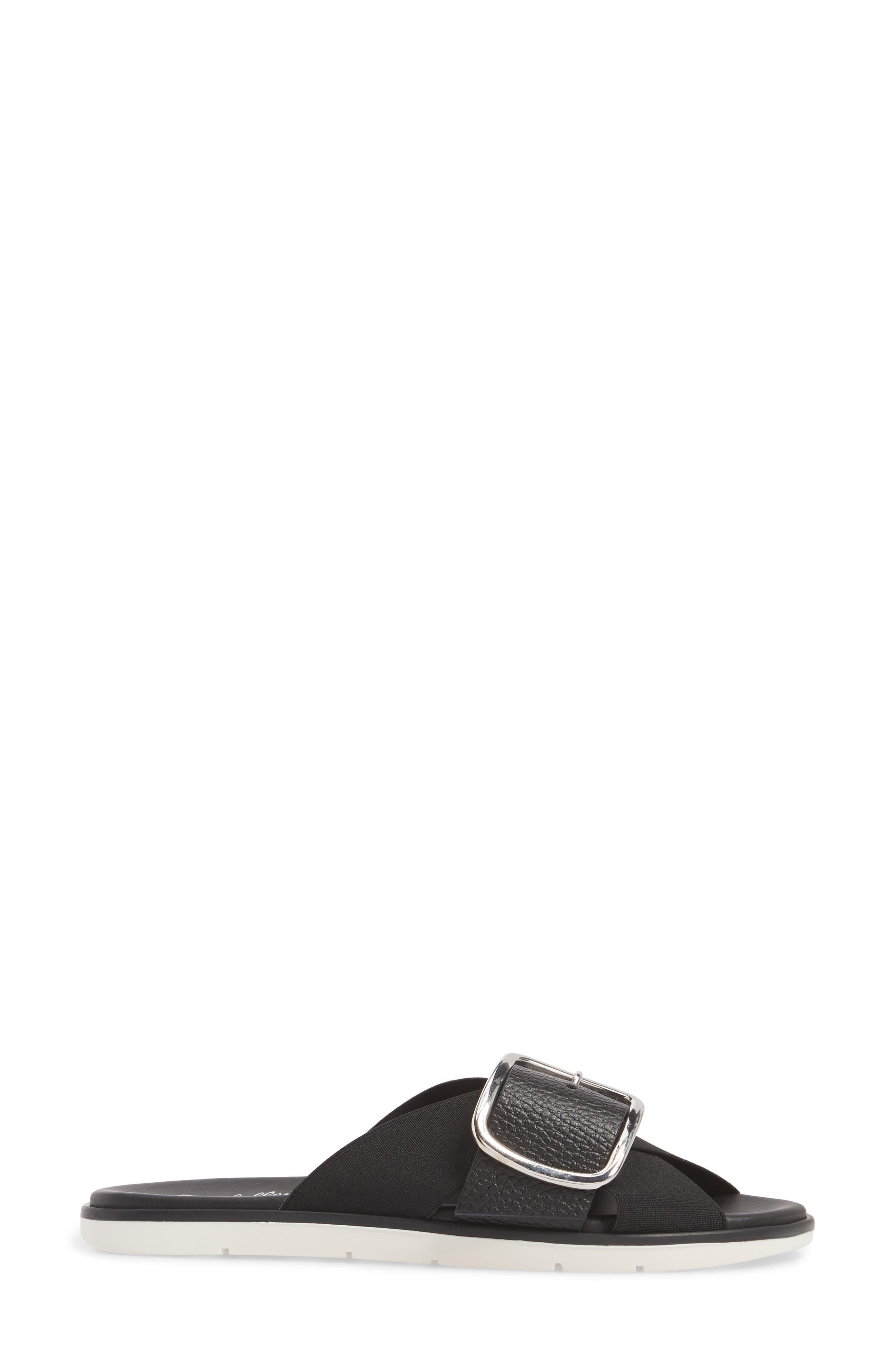 Reservation Slide Sandal,                             Alternate thumbnail 3, color,                             BLACK LEATHER
