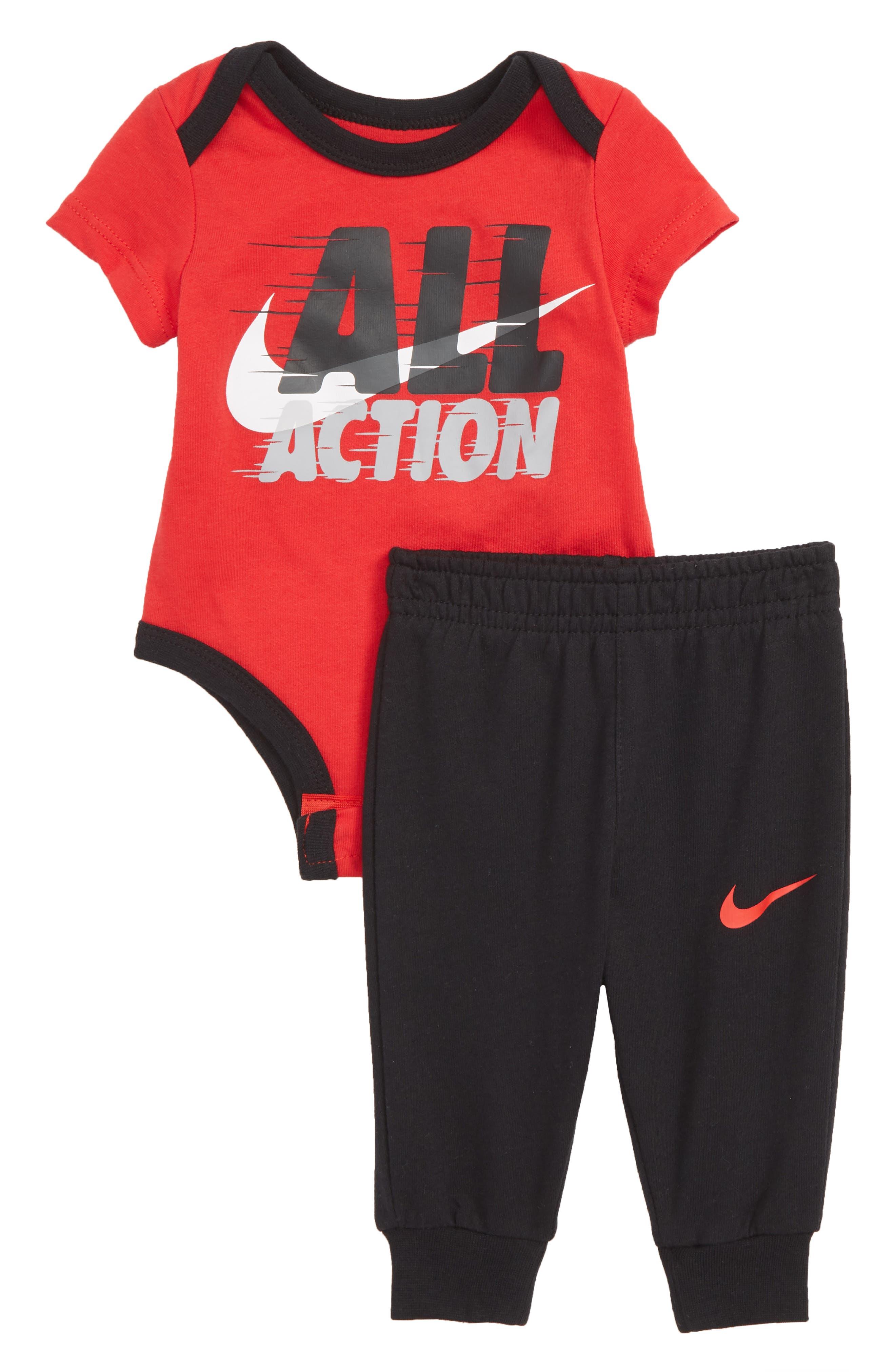 All Action Bodysuit & Sweatpants Set, Main, color, BLACK