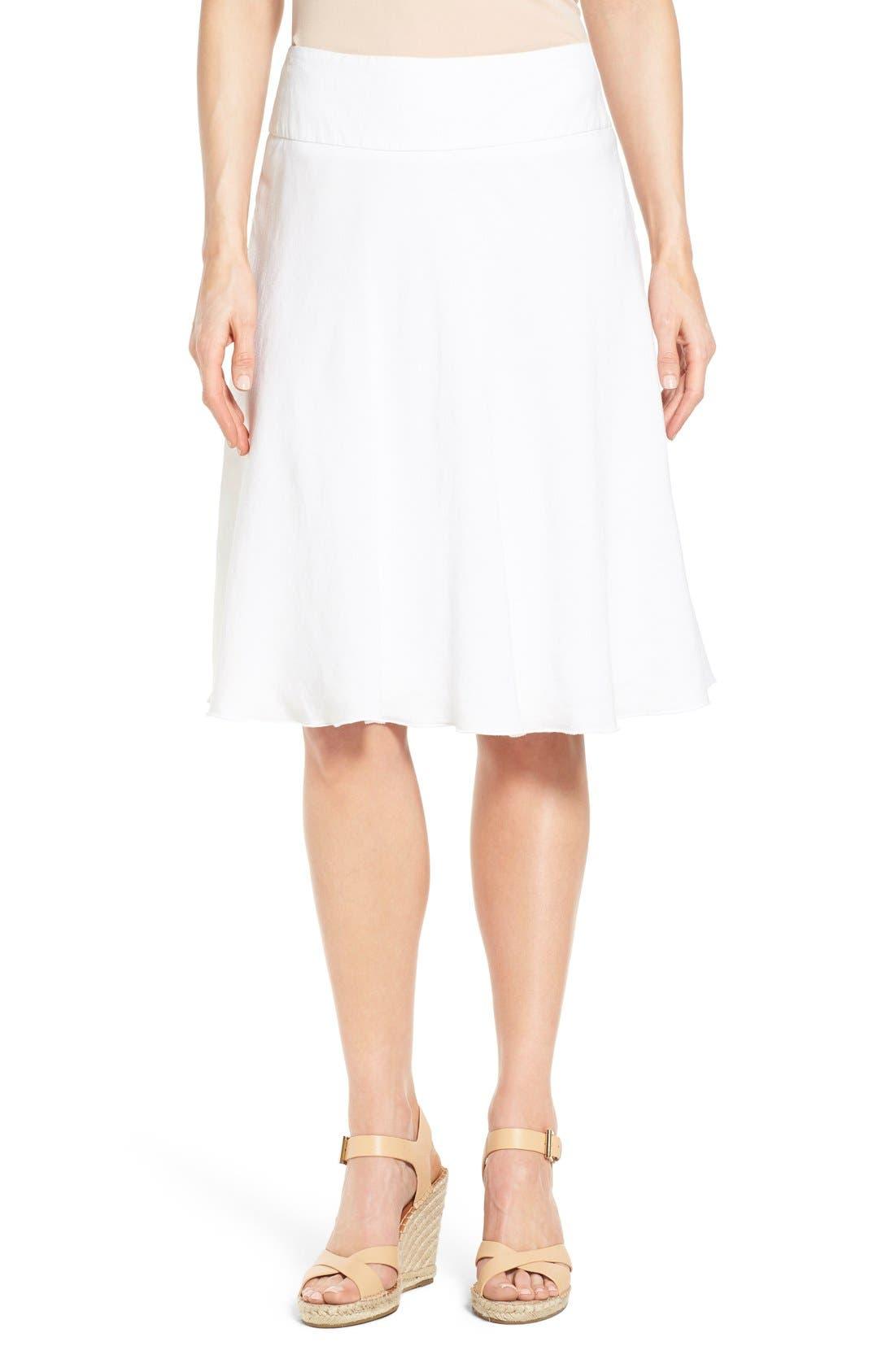 NIC+ZOE,                             Summer Fling Linen Blend Skirt,                             Alternate thumbnail 4, color,                             PAPER WHITE