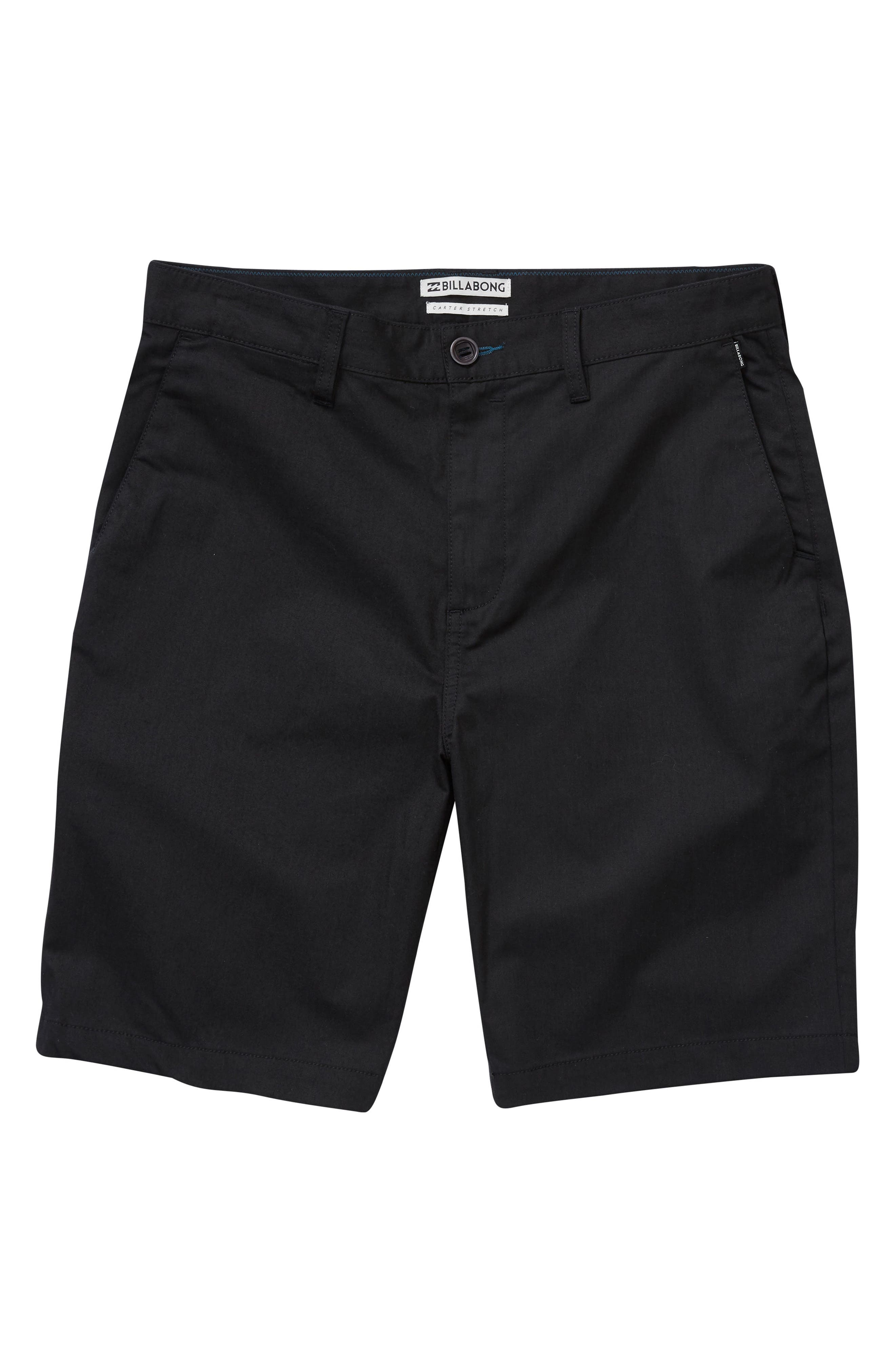 Carter Stretch Twill Shorts,                         Main,                         color, BLACK