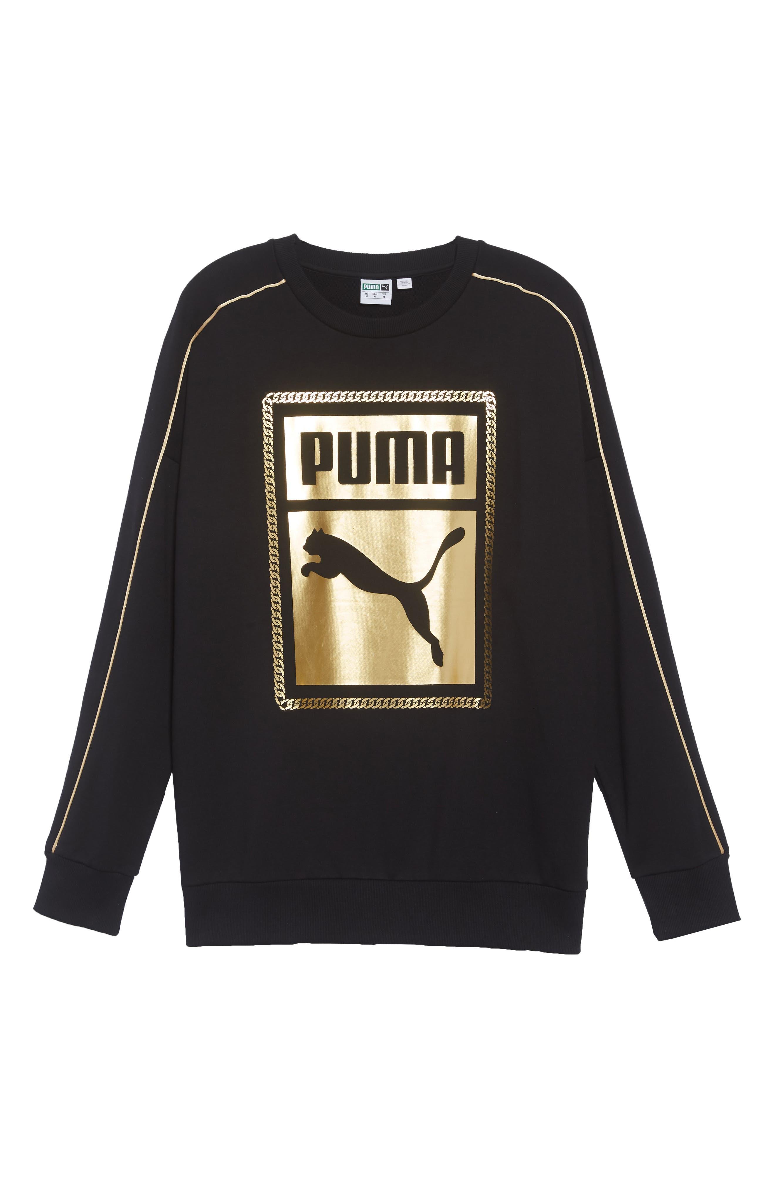 Chains Logo Graphic Sweatshirt,                             Alternate thumbnail 6, color,                             PUMA BLACK