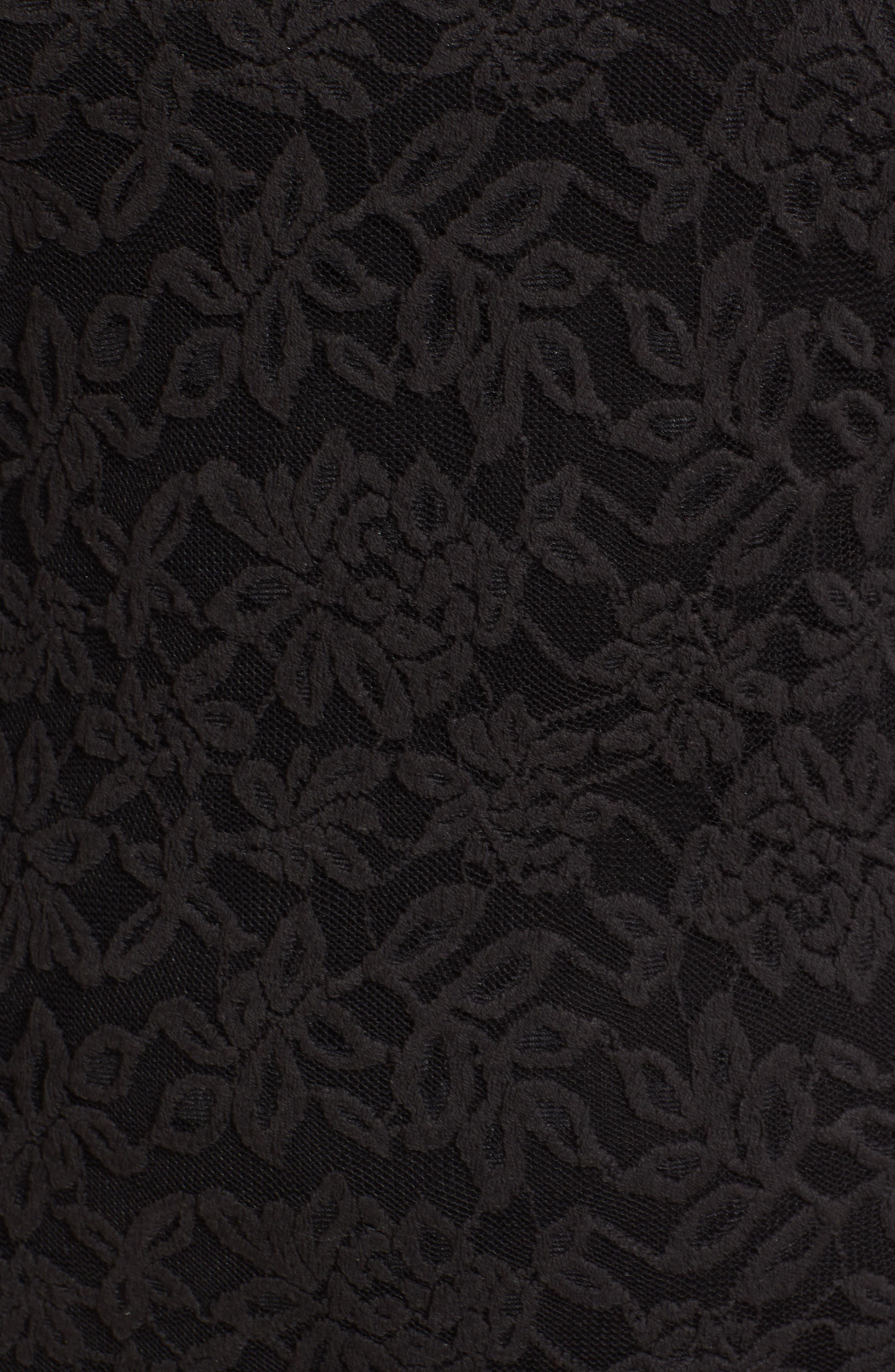 Delicia Lace Body-Con Dress,                             Alternate thumbnail 6, color,                             BLACK SILVER