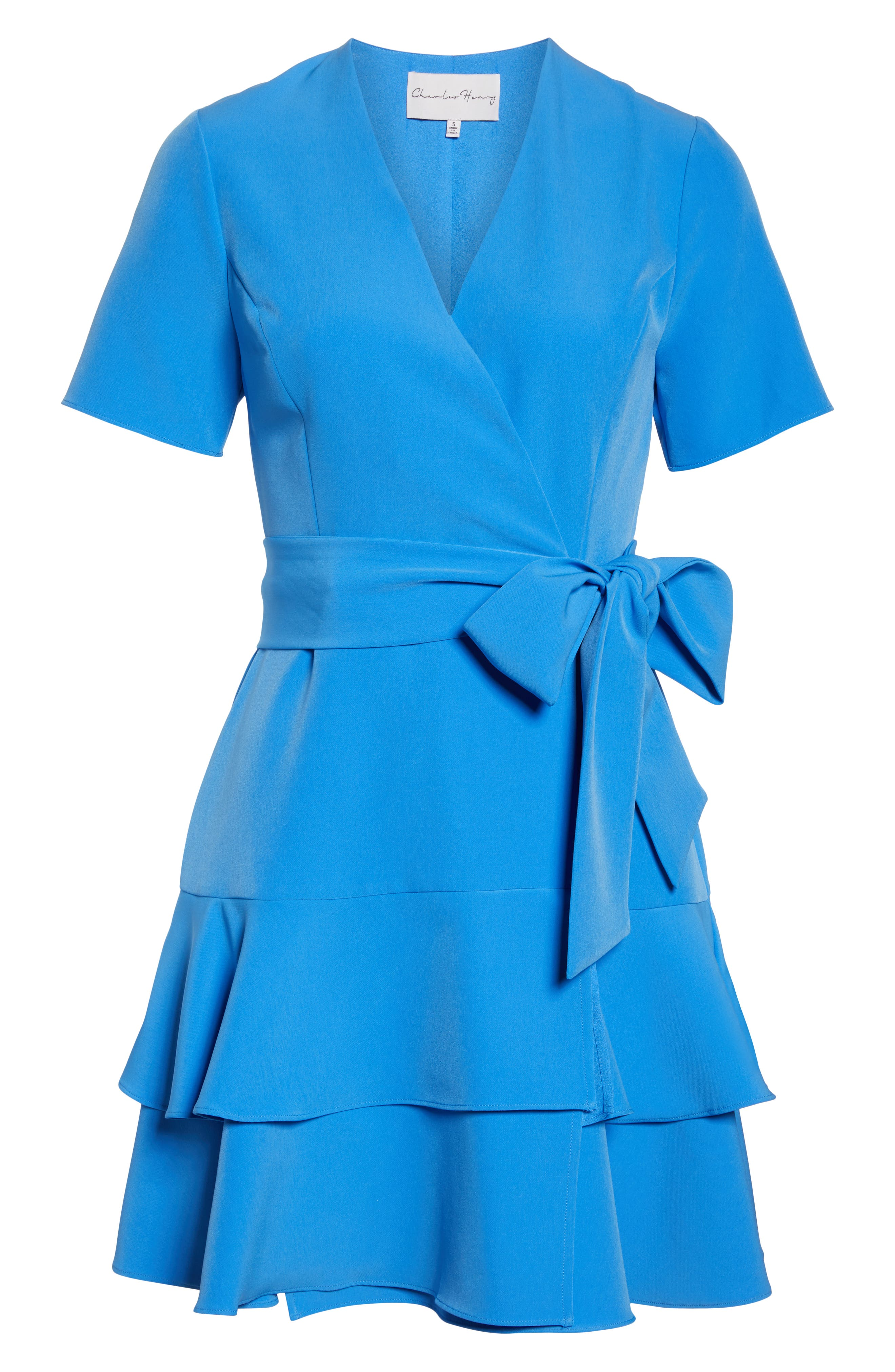 CHARLES HENRY,                             Ruffle Tiered Wrap Dress,                             Alternate thumbnail 7, color,                             DENIM BLUE