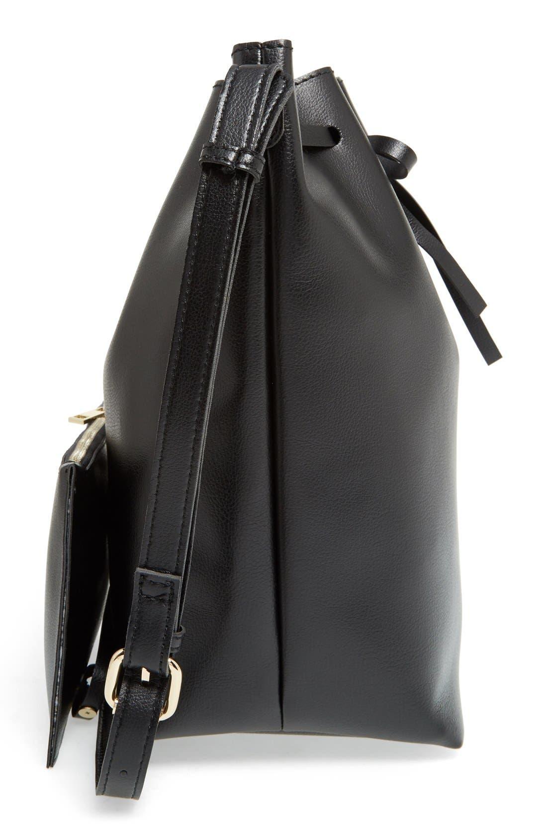 SOLE SOCIETY,                             'Blackwood' Faux Leather Bucket Bag,                             Alternate thumbnail 5, color,                             001