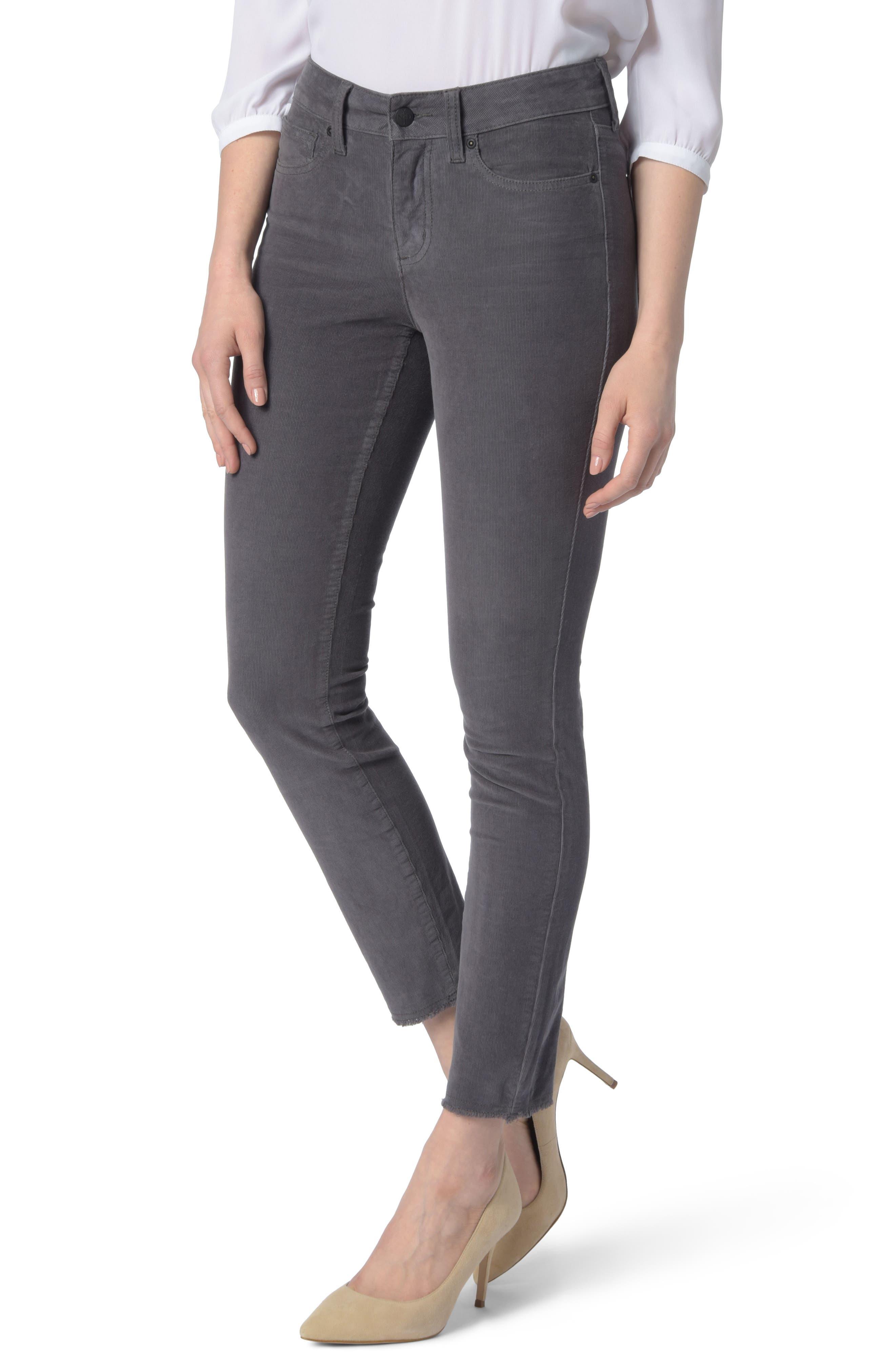 NYDJ Alina Frayed Stretch Corduroy Ankle Jeans, Main, color, 038