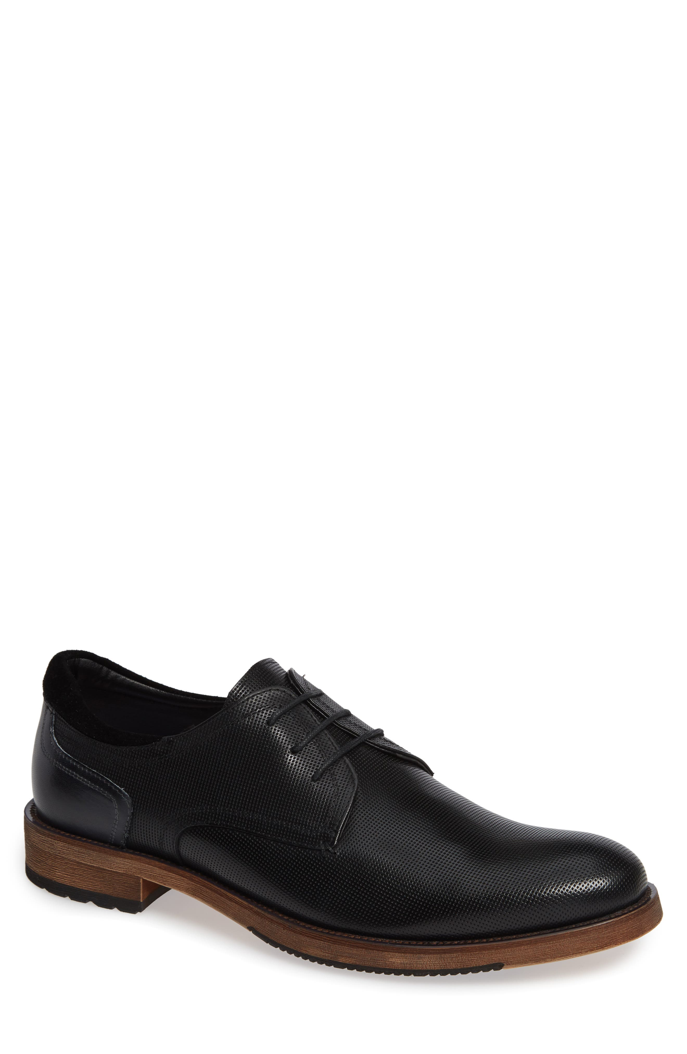 Durham Textured Plain Toe Derby,                             Main thumbnail 1, color,                             BLACK