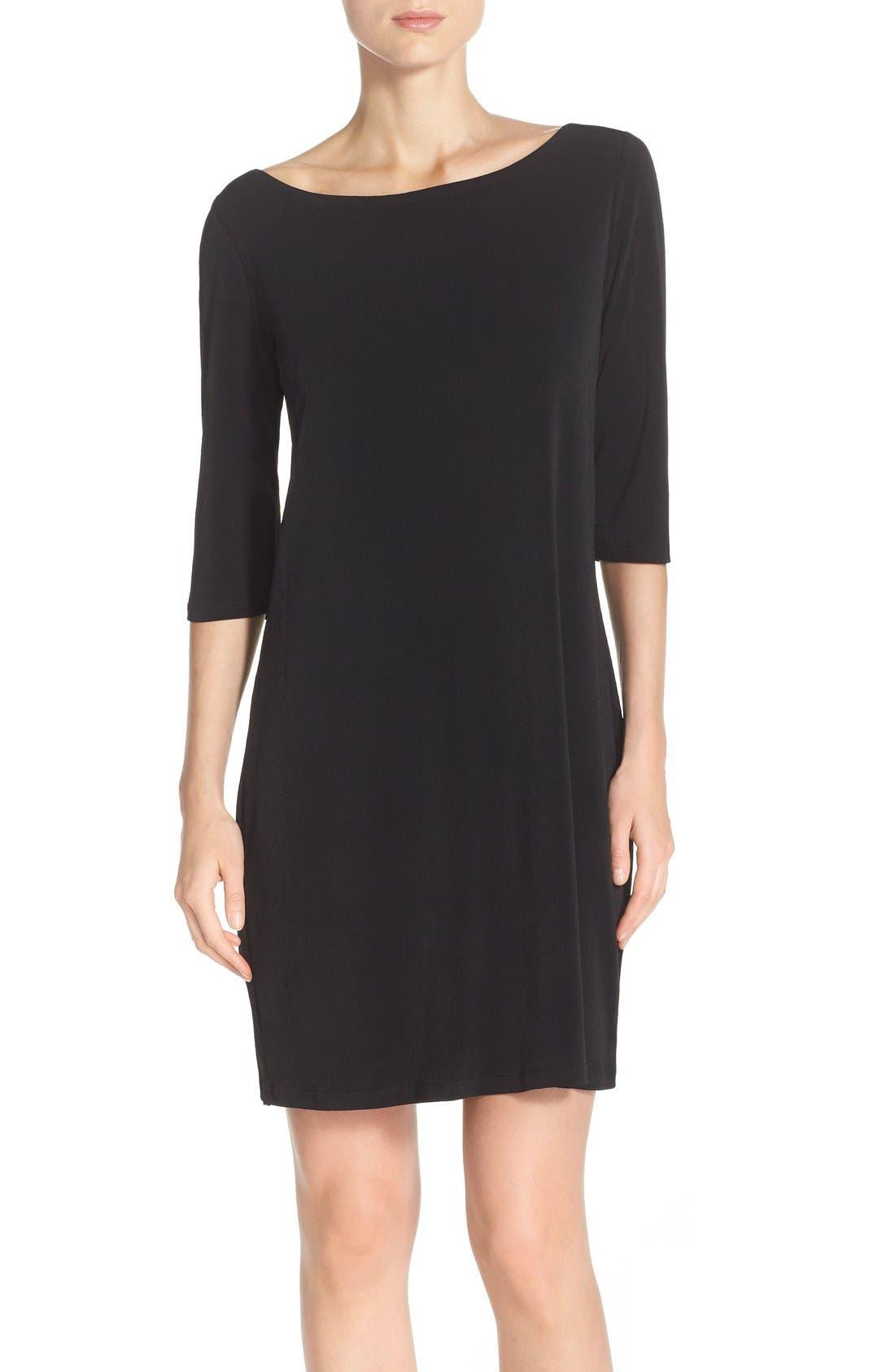 Dolman Sleeve Jersey Sheath Dress,                             Main thumbnail 1, color,                             BLACK