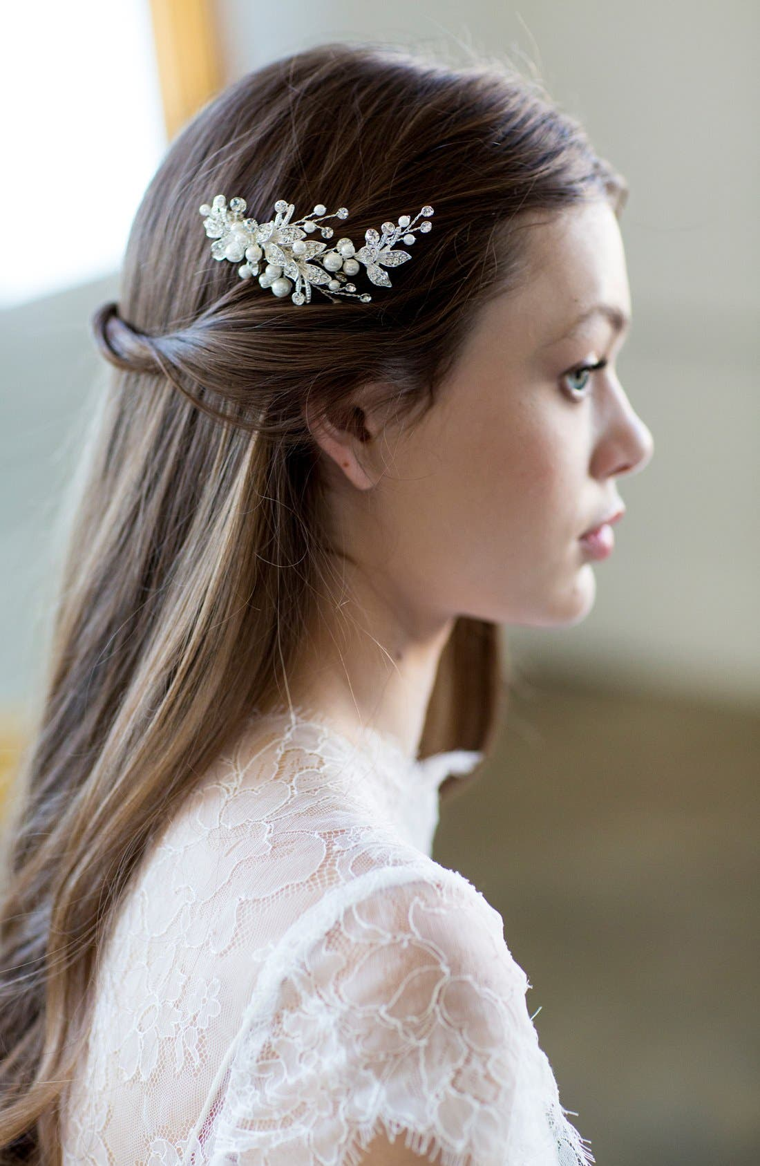 BRIDES & HAIRPINS,                             'Catherine' Jeweled Hair Comb,                             Alternate thumbnail 3, color,                             ANTIQUE PLATINUM