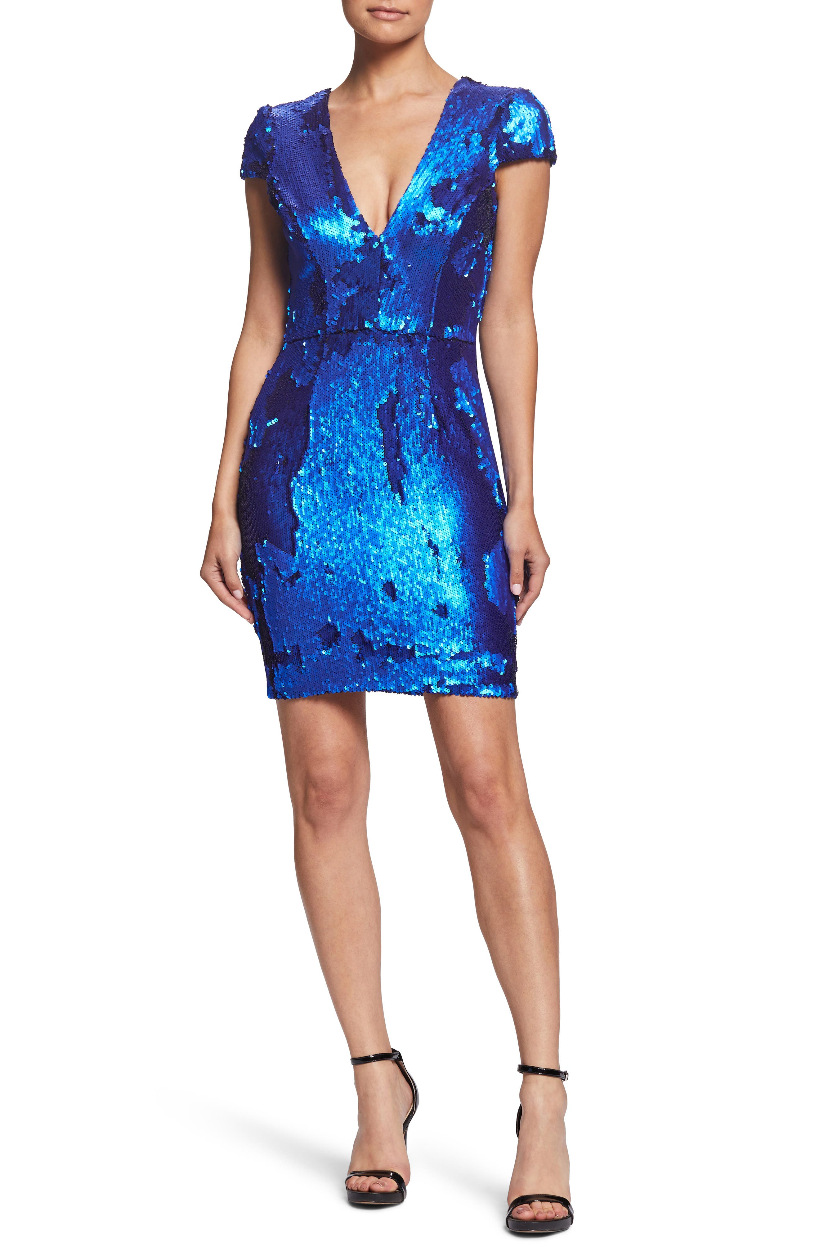 Zoe Sequin V-Neck Cocktail Sheath Dress,                             Alternate thumbnail 5, color,                             ELECTRIC BLUE