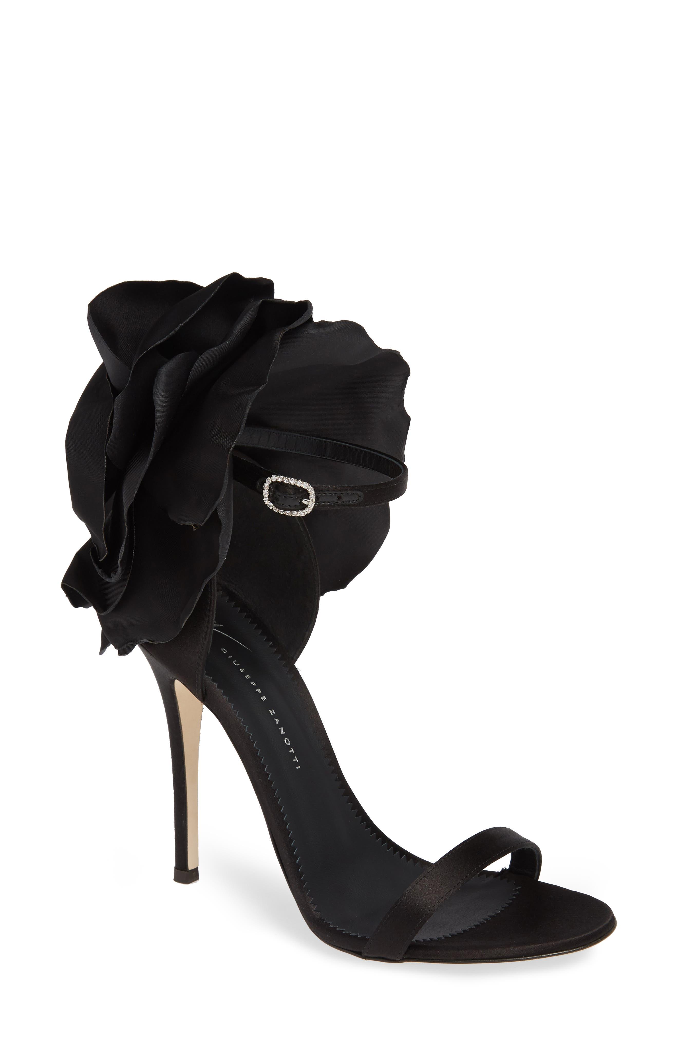 Blooming Flower Ankle Strap Sandal,                             Main thumbnail 1, color,                             BLACK