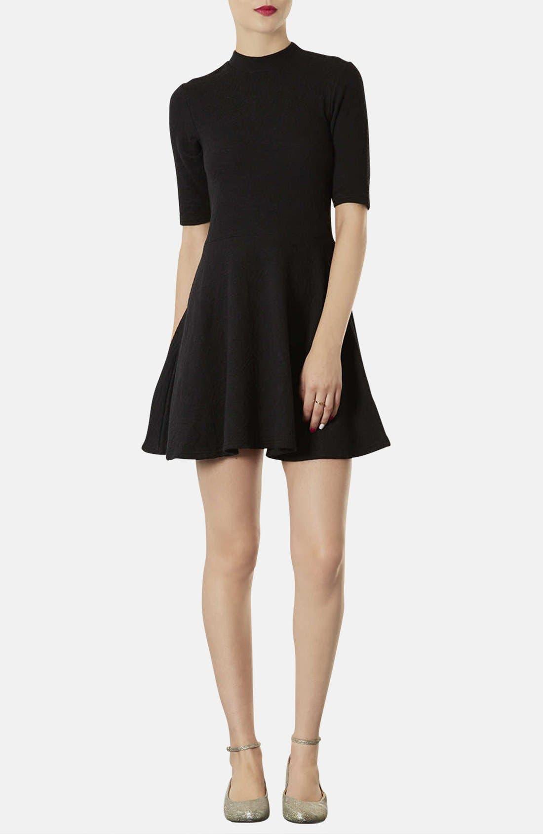 Mock Neck Textured Skater Dress, Main, color, 001
