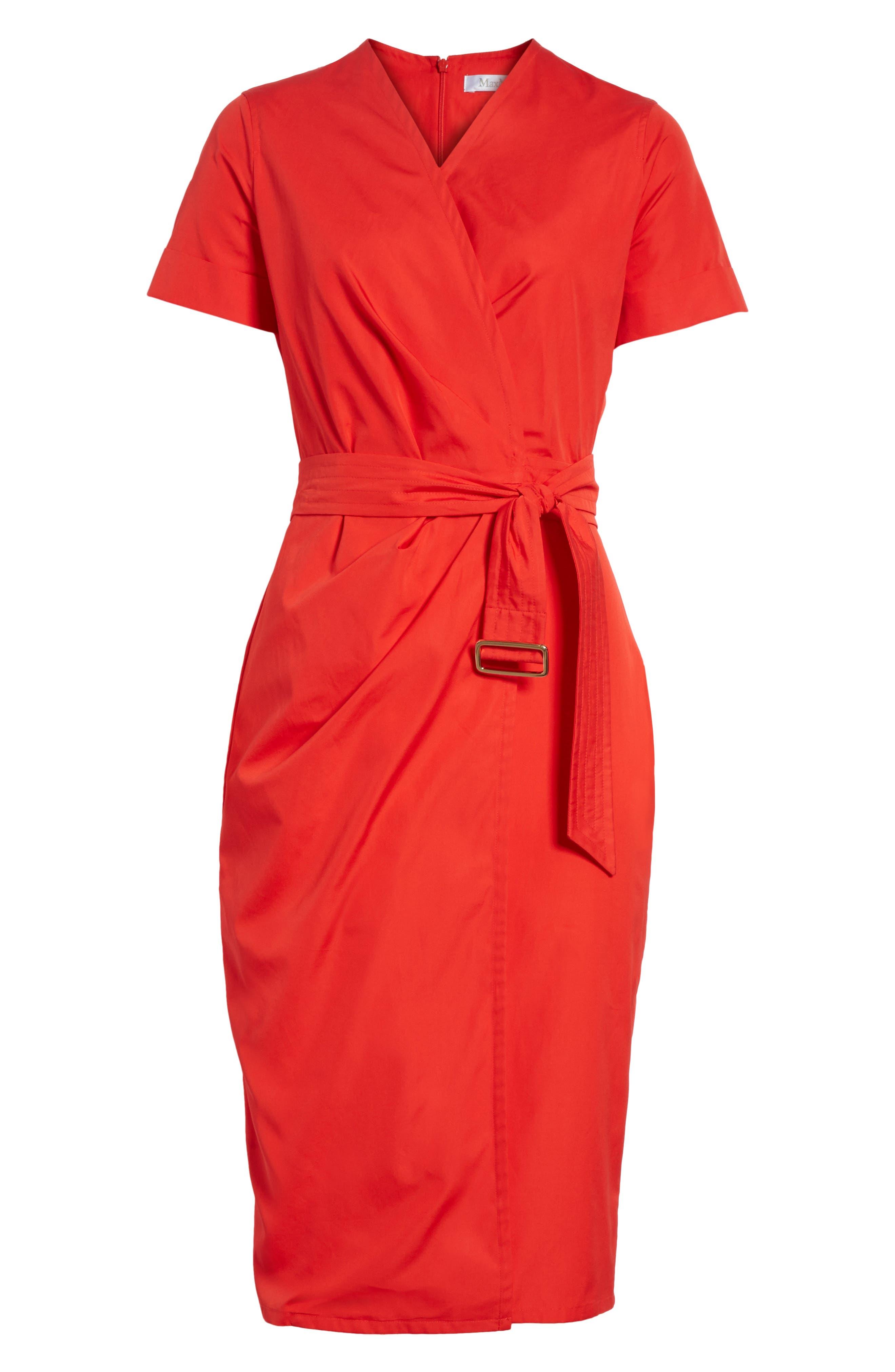 Dalmine Cotton Wrap Dress,                             Alternate thumbnail 6, color,                             RED