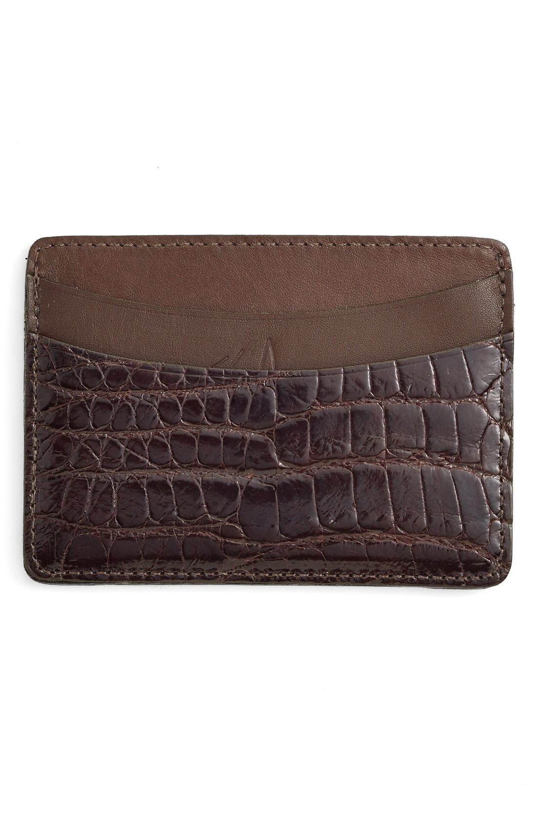 'Joseph' Genuine American Alligator Card Case,                             Alternate thumbnail 4, color,                             BROWN