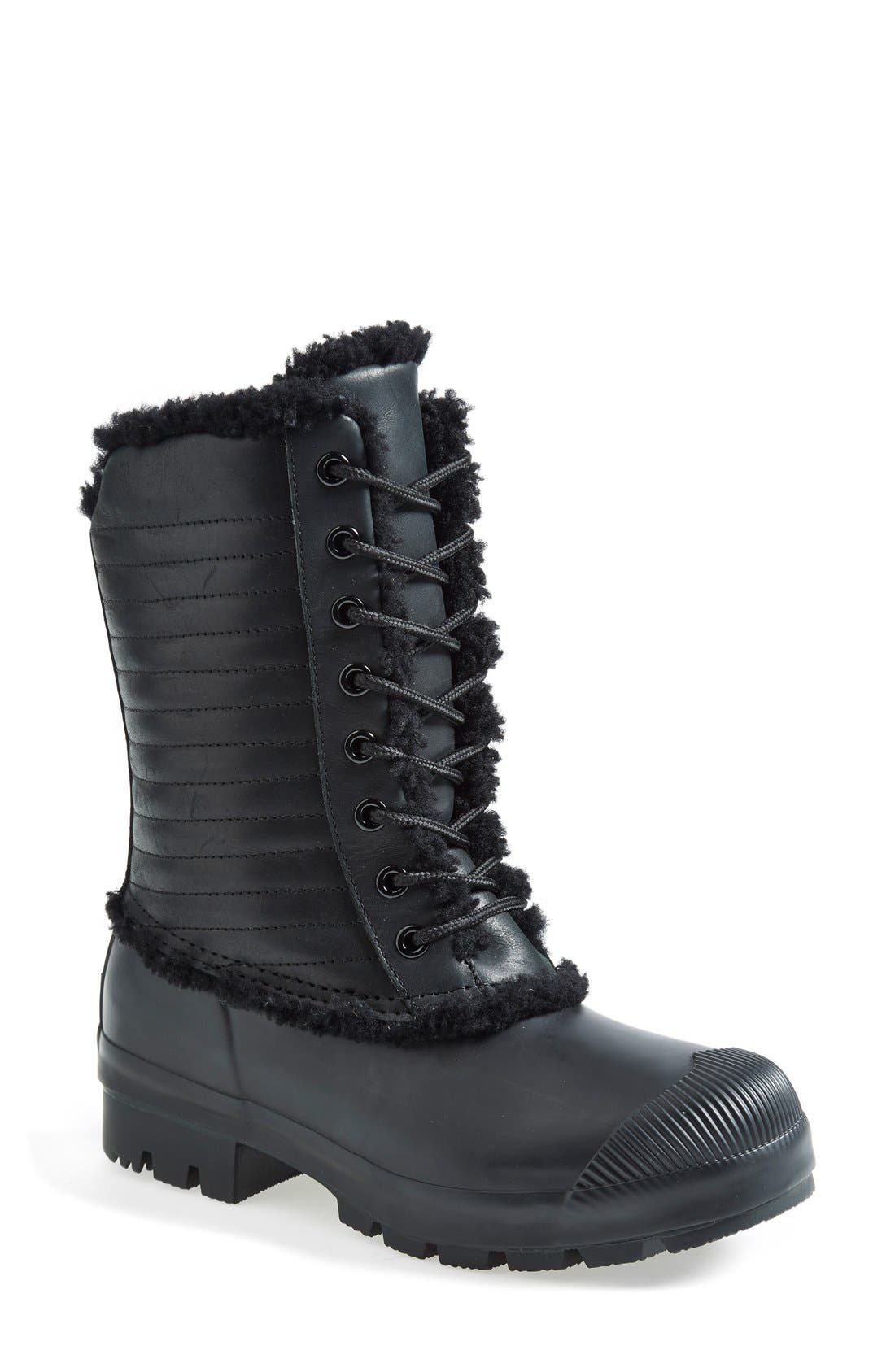 Original Genuine Shearling & Patent Leather Lace-Up Rain Boot, Main, color, 001