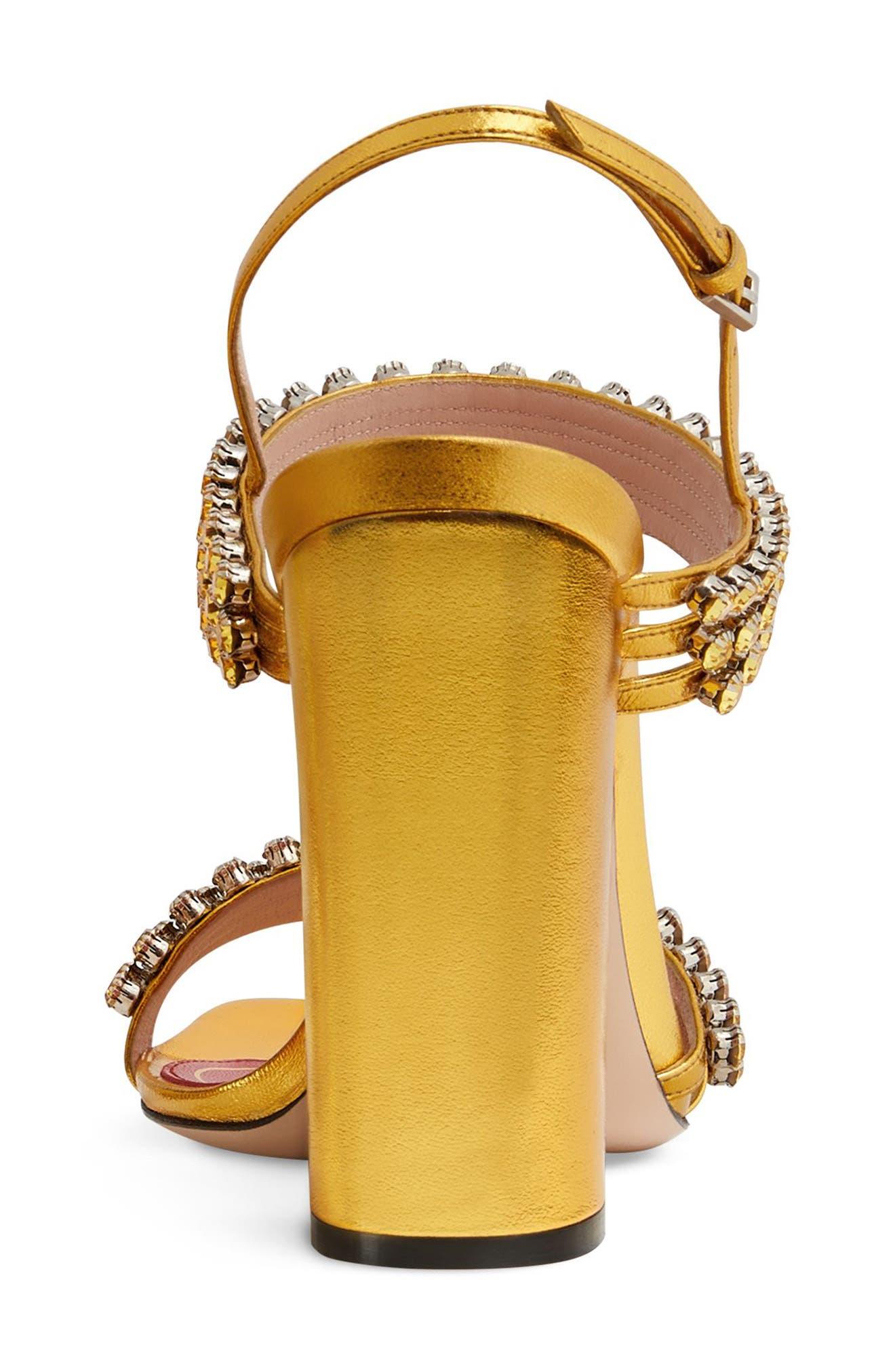 Bertie Jewel Sandal,                             Alternate thumbnail 5, color,                             GOLD LEATHER