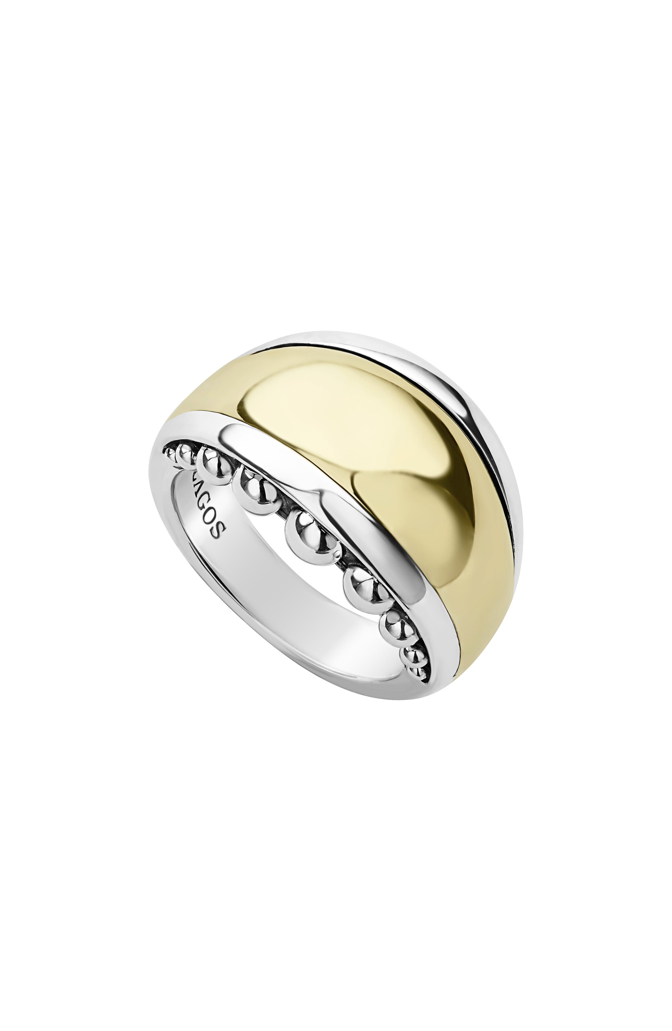 LAGOS,                             Signature Caviar High Bar Dome Ring,                             Main thumbnail 1, color,                             SILVER/ GOLD