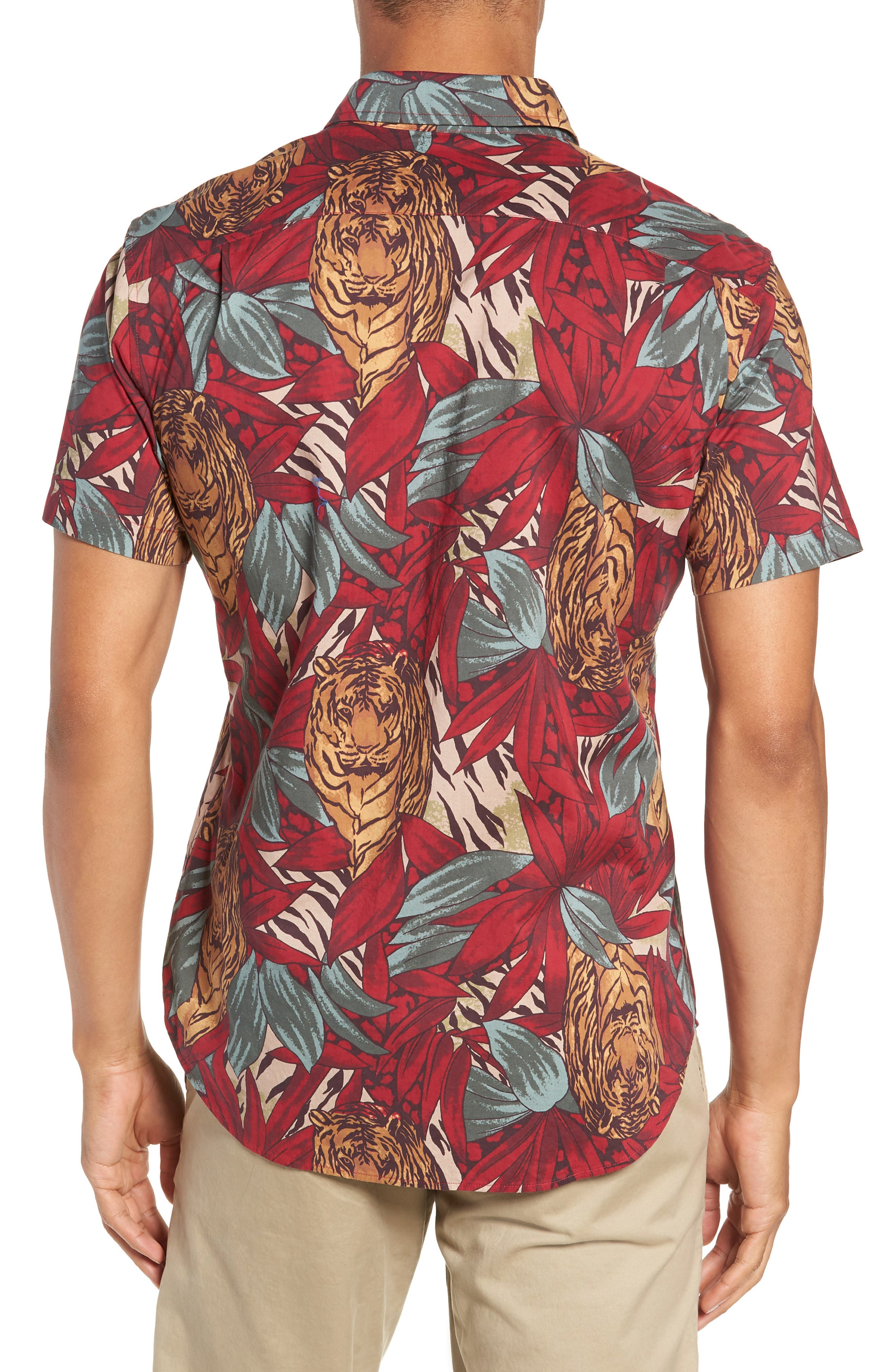 BONOBOS,                             Riviera Slim Fit Tiger Frond Sport Shirt,                             Alternate thumbnail 3, color,                             600