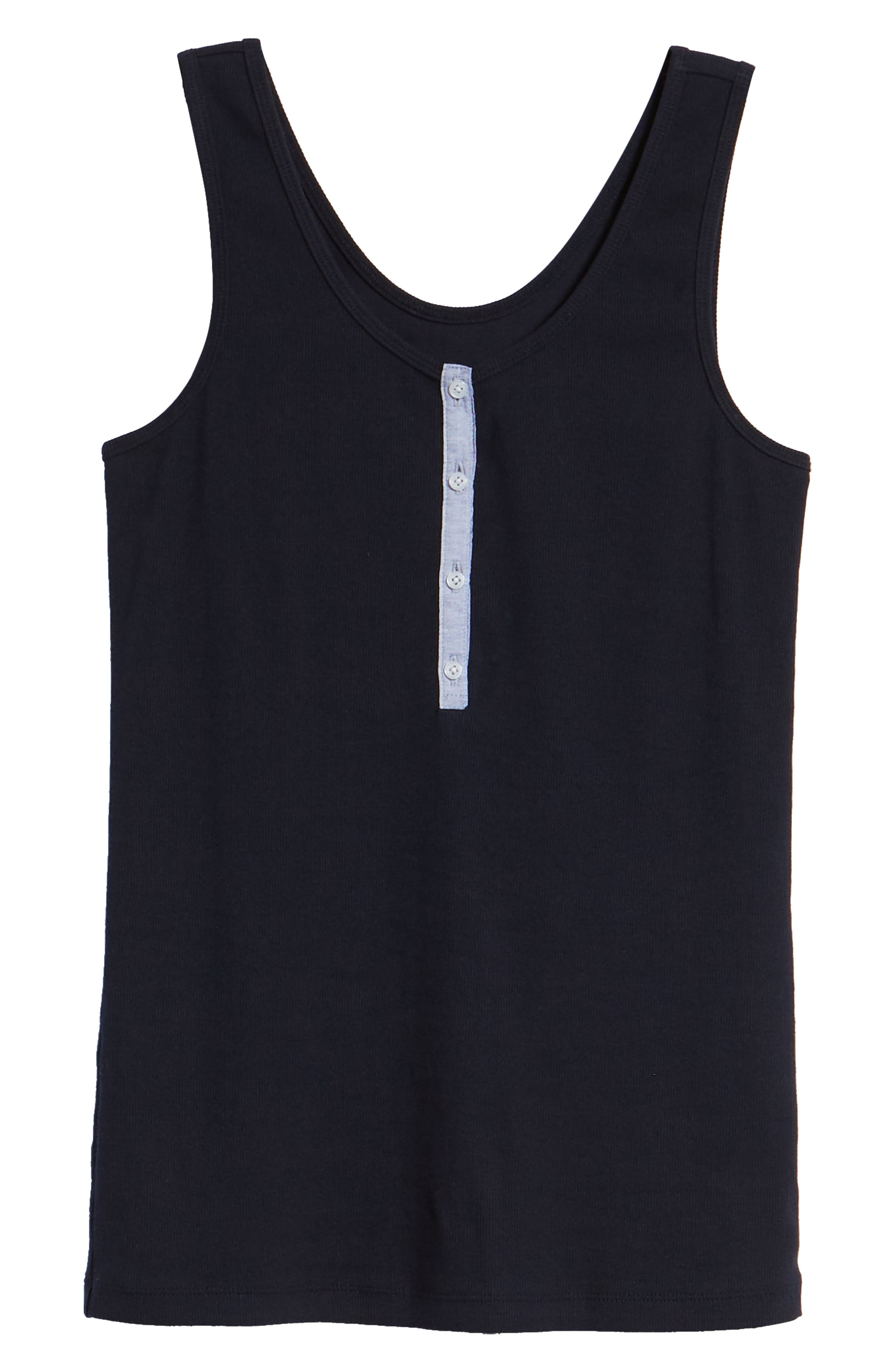 Ribbed Henley Cotton Blend Tank Top,                             Alternate thumbnail 12, color,