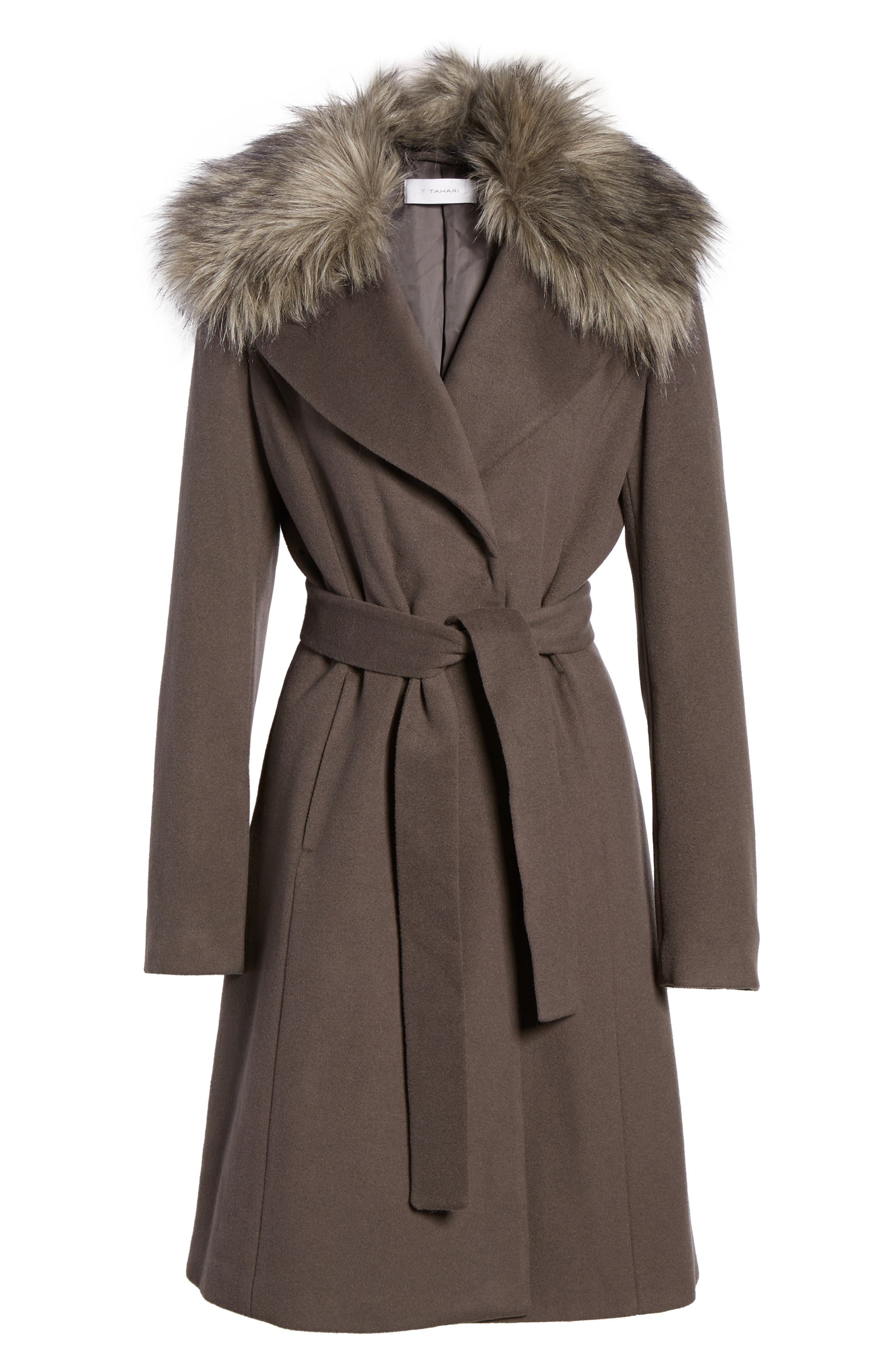 Fiona Wrap Coat with Removable Faux Fur Collar,                             Alternate thumbnail 5, color,                             024