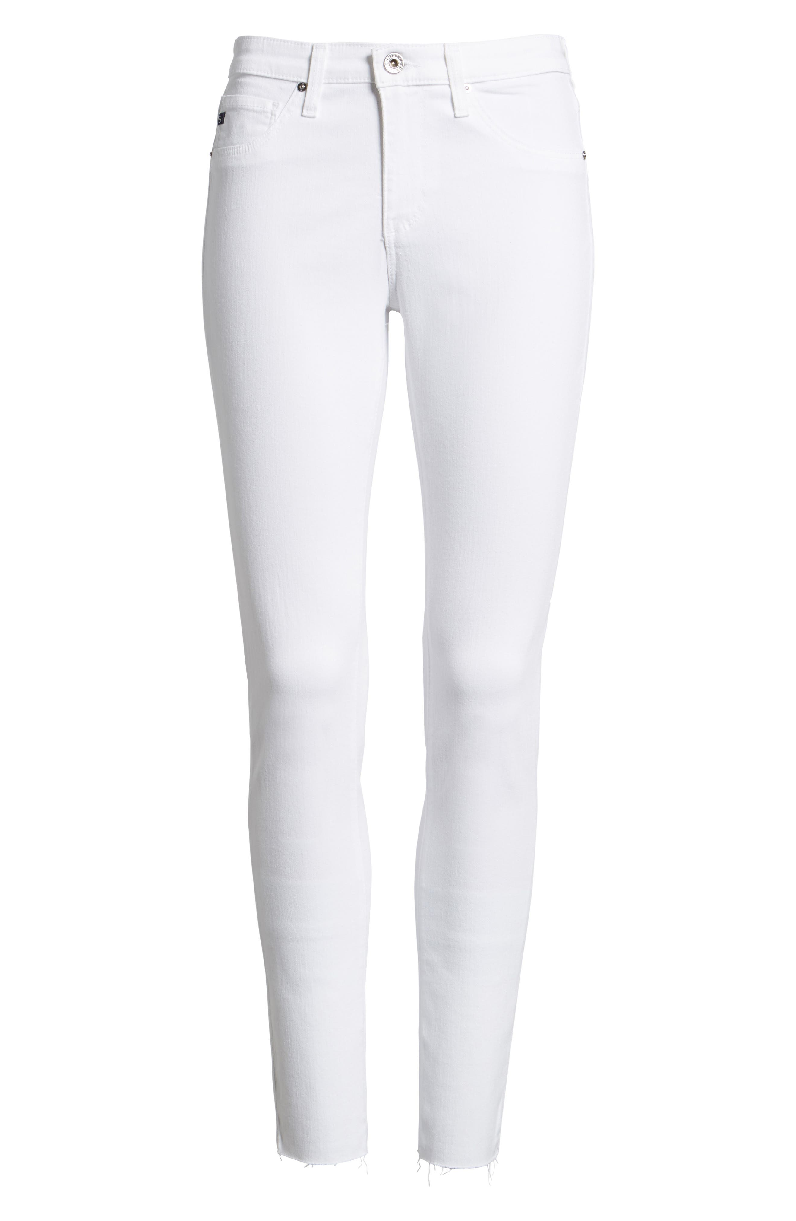 'The Legging' Cutoff Ankle Skinny Jeans,                             Alternate thumbnail 3, color,                             WHITE