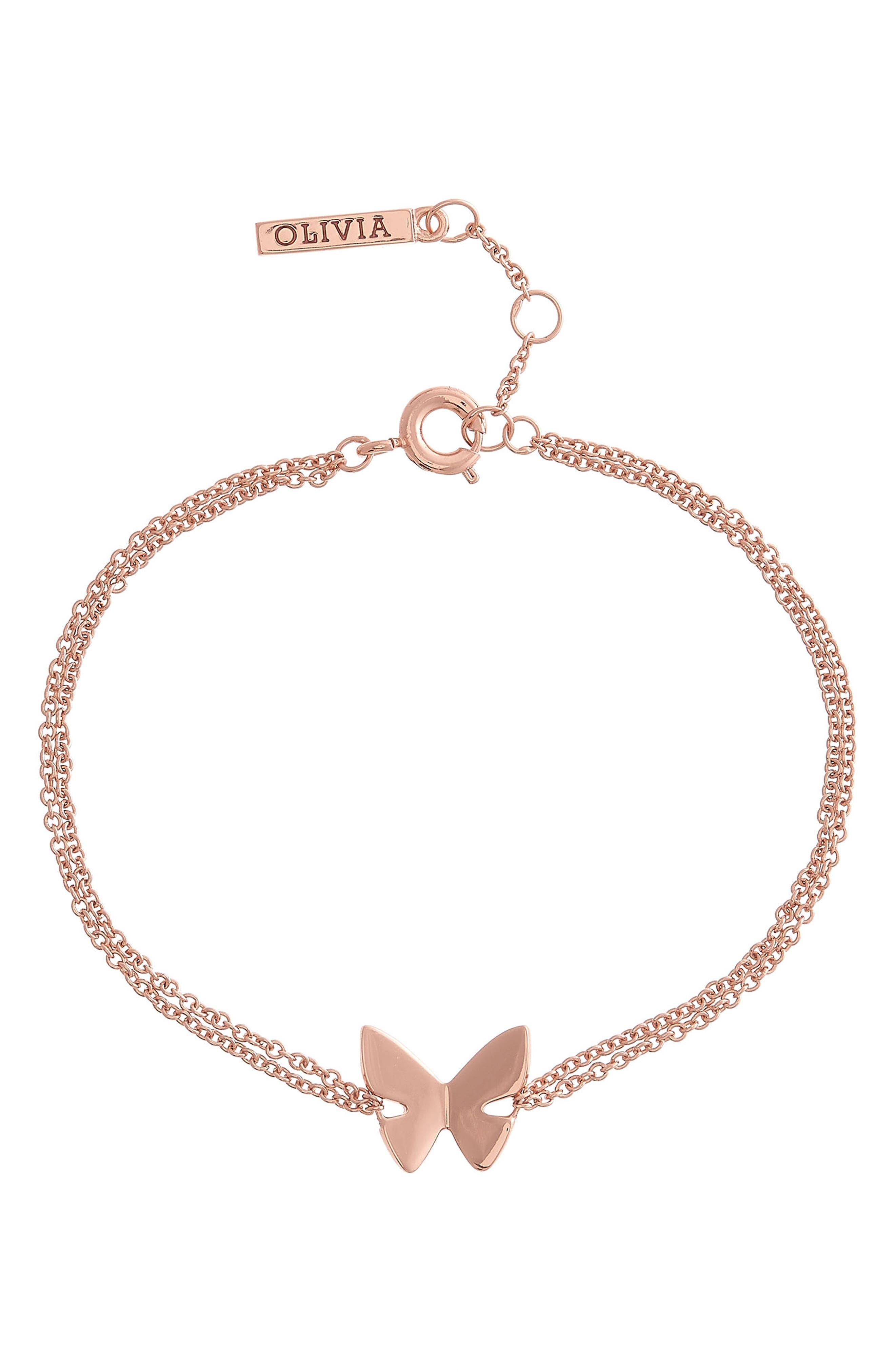 Social Butterfly Chain Bracelet,                             Main thumbnail 1, color,                             ROSE GOLD