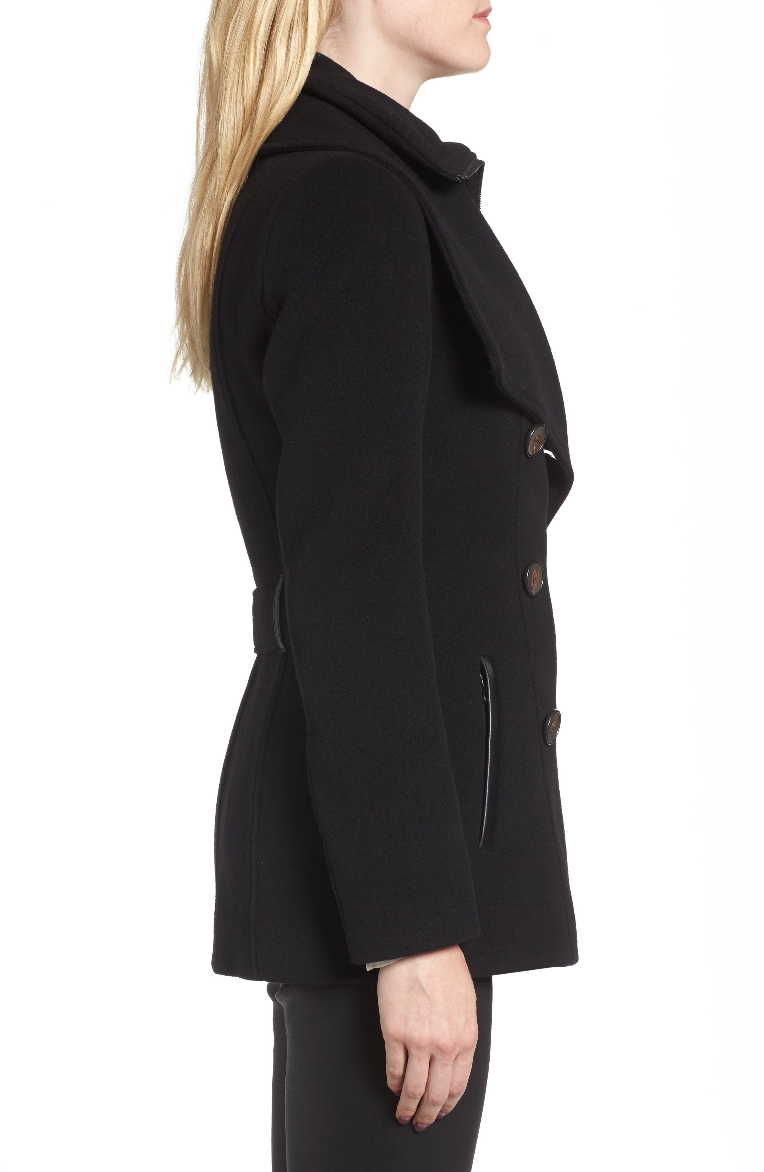 Norissa Double-Breasted Wool Blend Peacoat,                             Alternate thumbnail 3, color,                             001